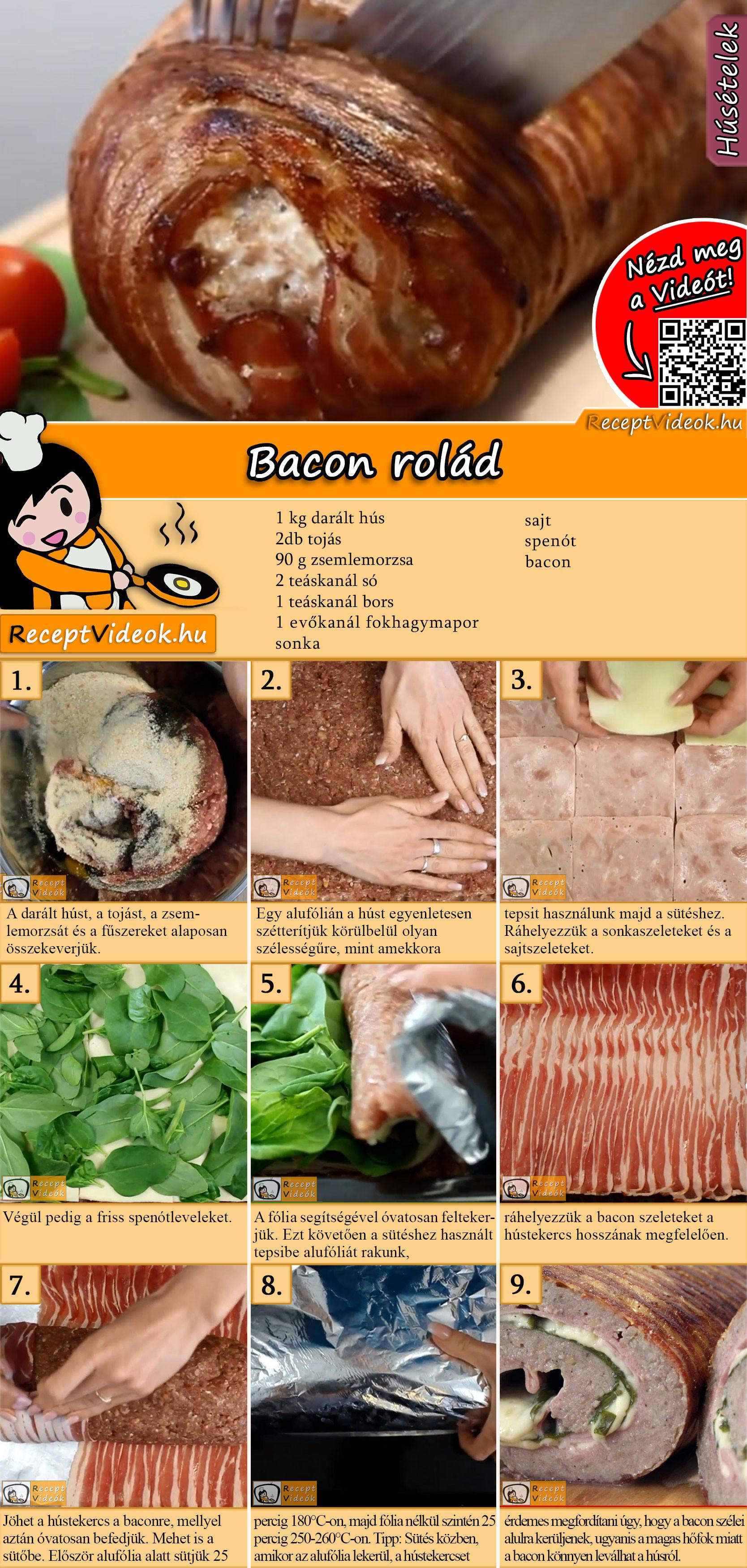 Bacon rolád recept elkészítése videóval