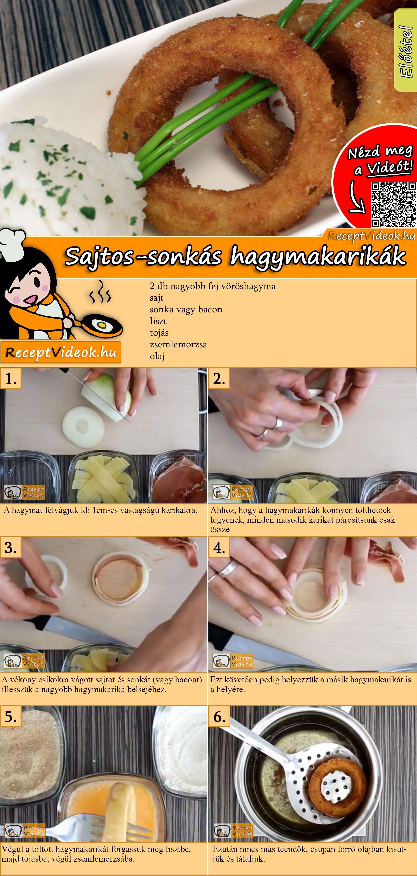Sajtos-sonkás hagymakarikák recept elkészítése videóval