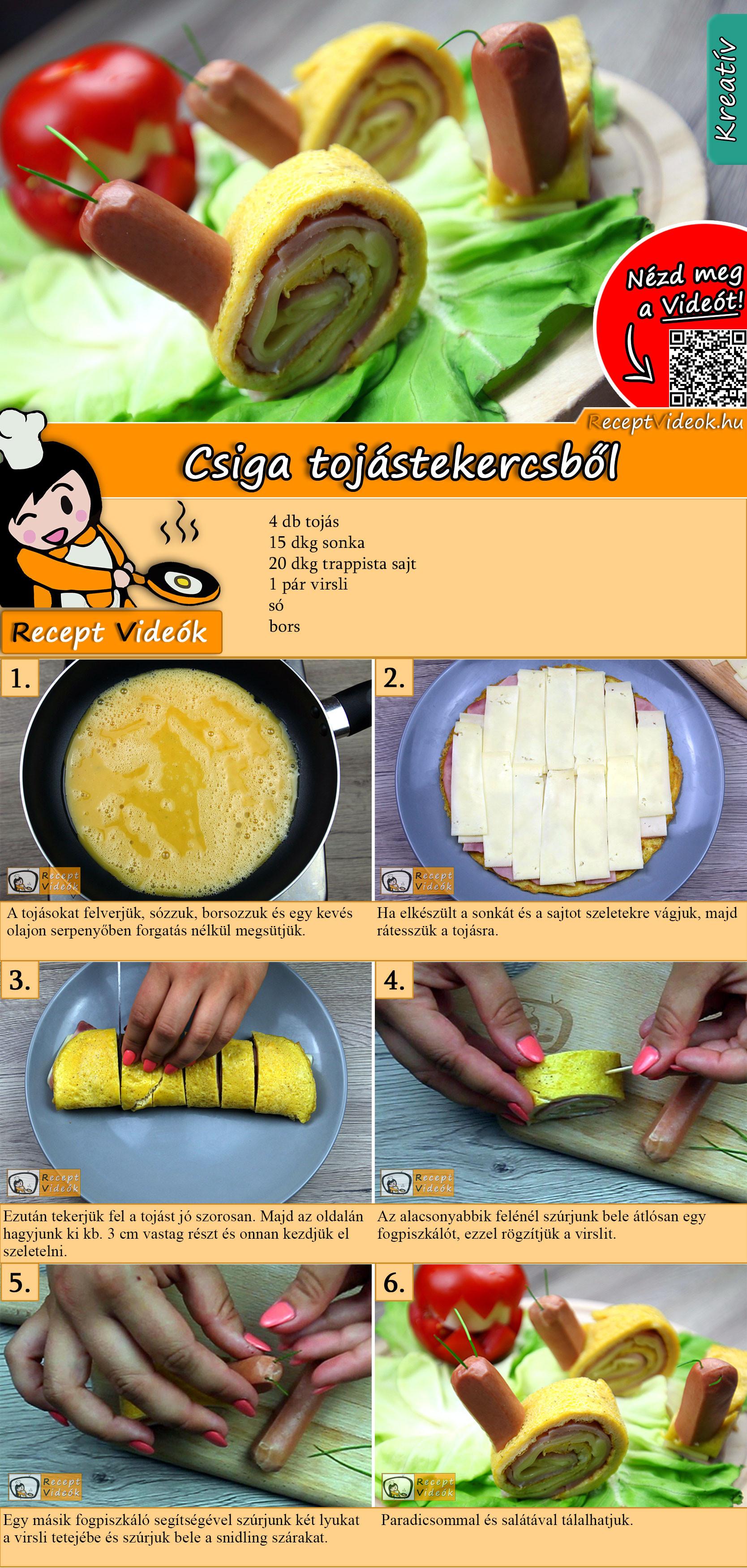 Csiga tojástekercsből recept elkészítése videóval