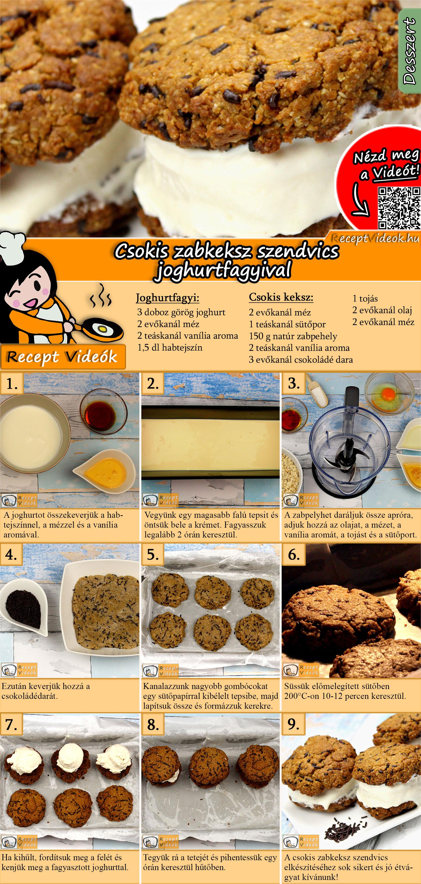 Csokis zabkeksz szendvics joghurtfagyival recept elkészítése videóval