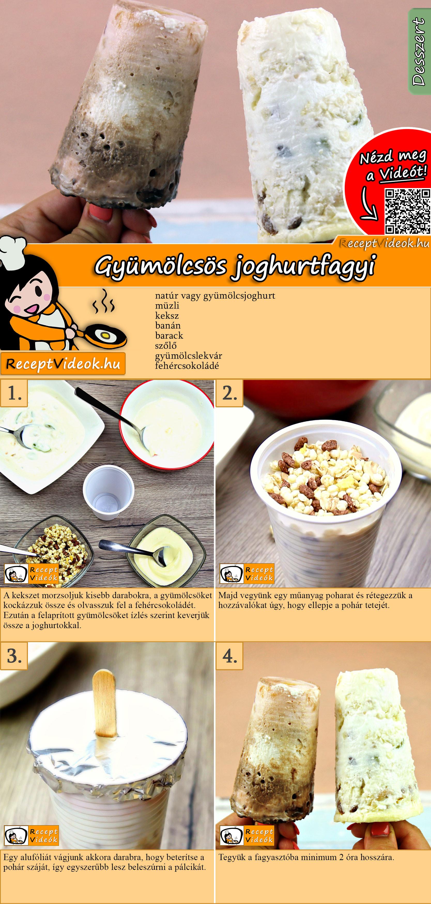 Gyümölcsös joghurtfagyi recept elkészítése videóval