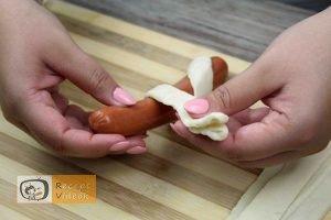 Hotdog kígyócskák recept, hotdog kígyócskák elkészítése 6. lépés