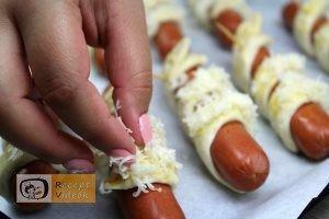 Hotdog kígyócskák recept, hotdog kígyócskák elkészítése 10. lépés
