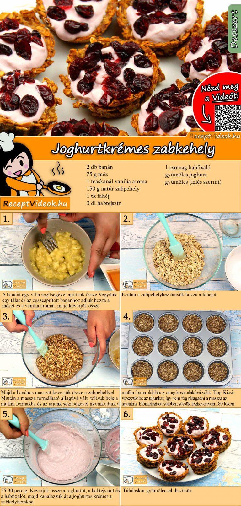 Joghurtkrémes zabkehely recept elkészítése videóval