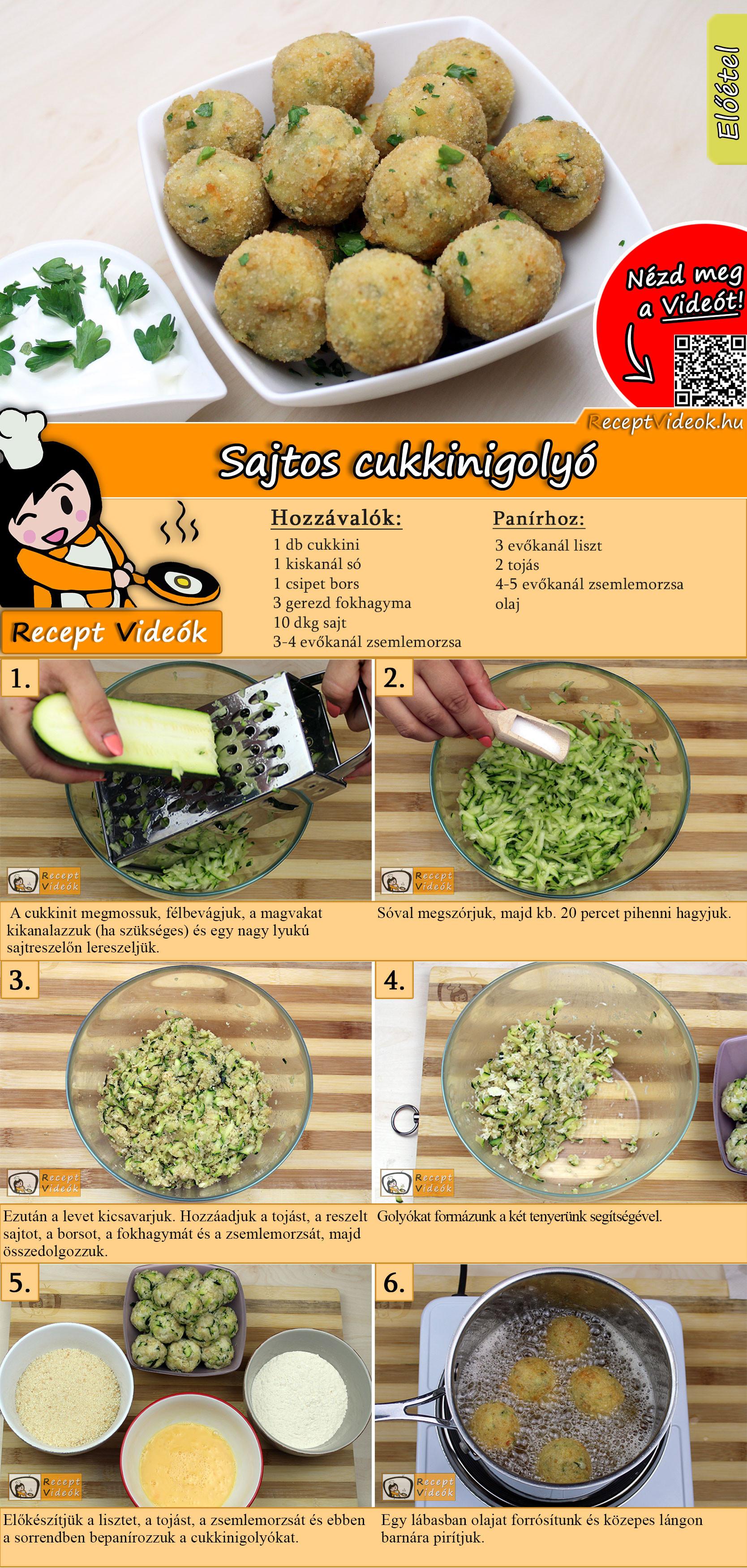 Sajtos cukkinigolyó recept elkészítése videóval