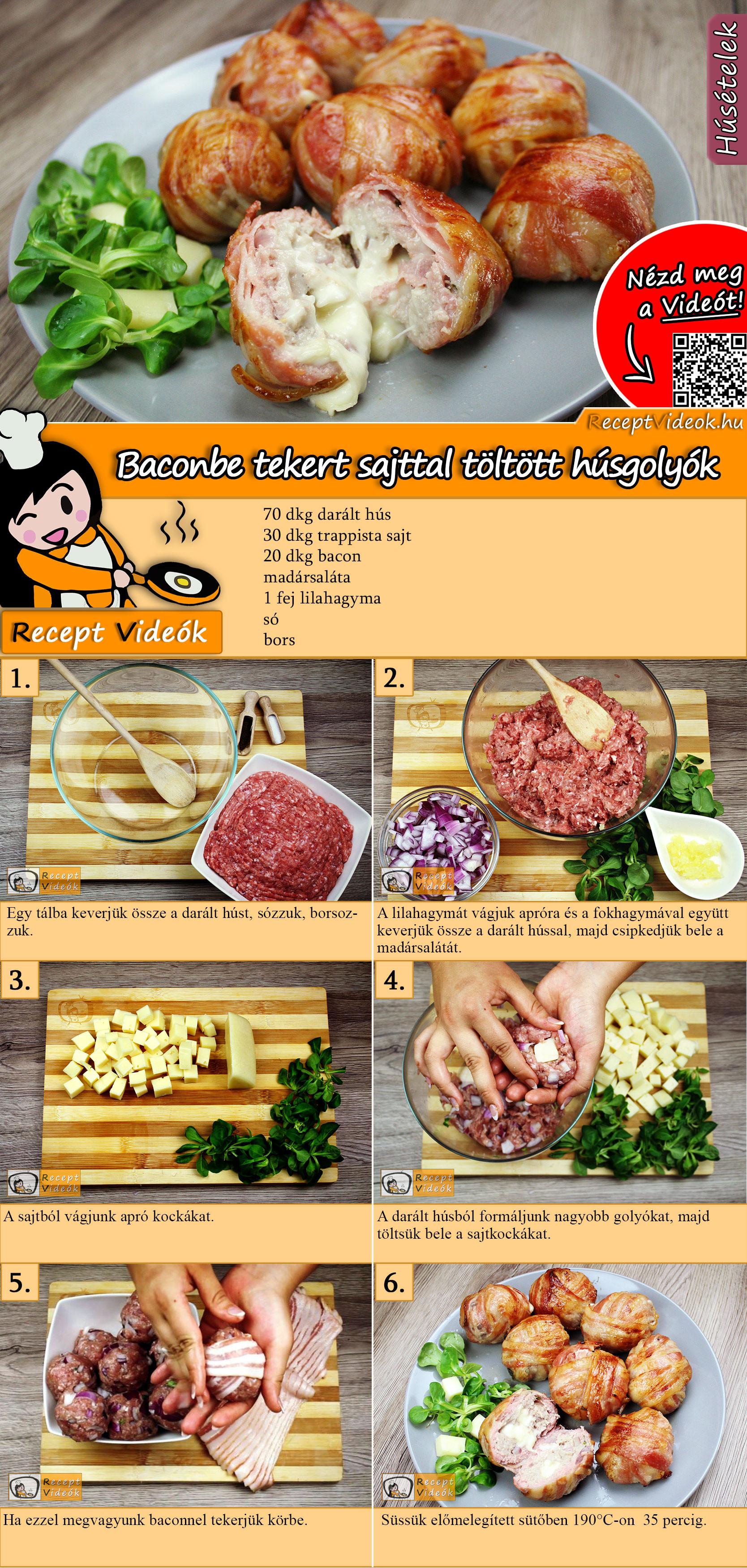 Baconbe tekert sajttal töltött húsgolyók recept elkészítése videóval