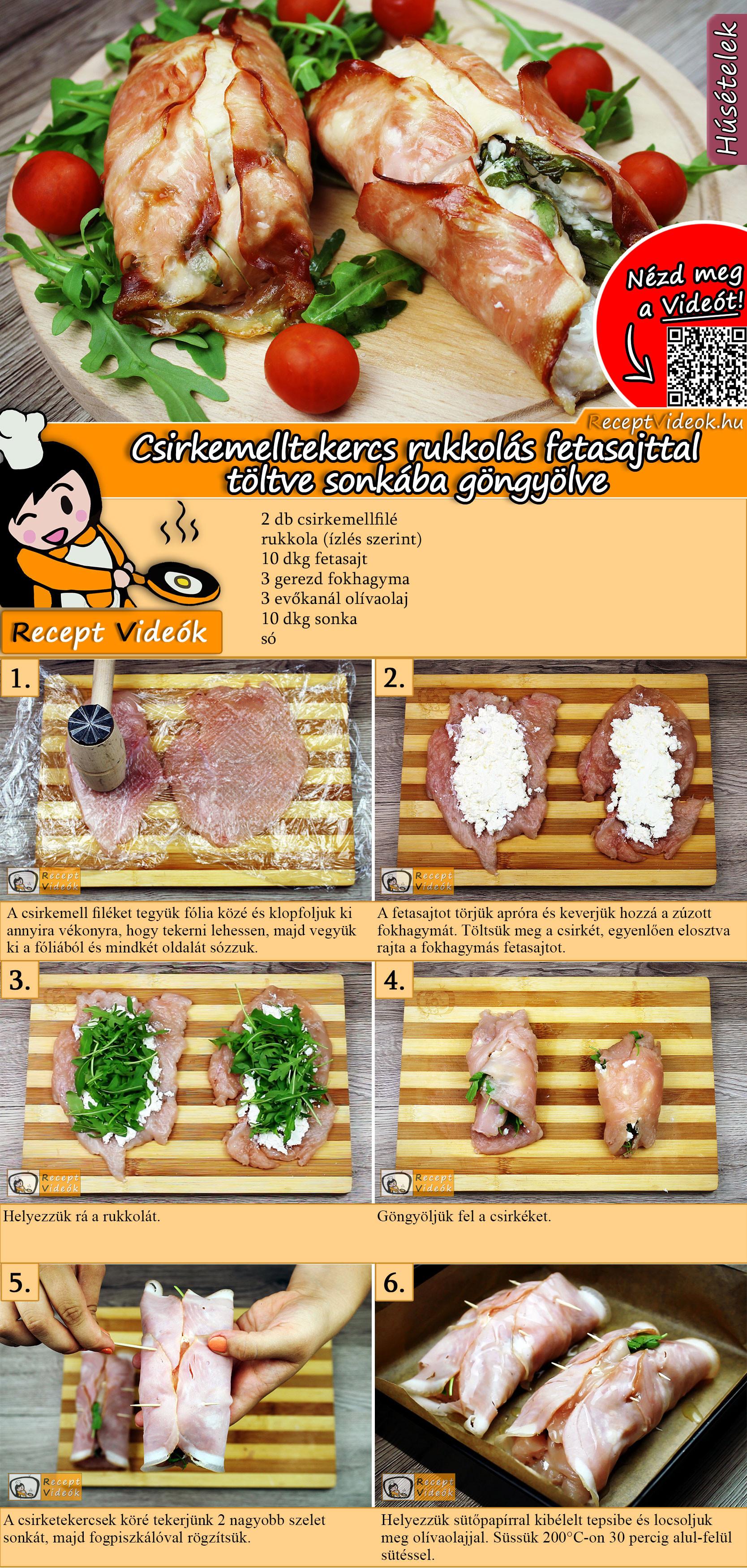 Csirkemelltekercs rukkolás fetasajttal töltve sonkába göngyölve recept elkészítése videóval