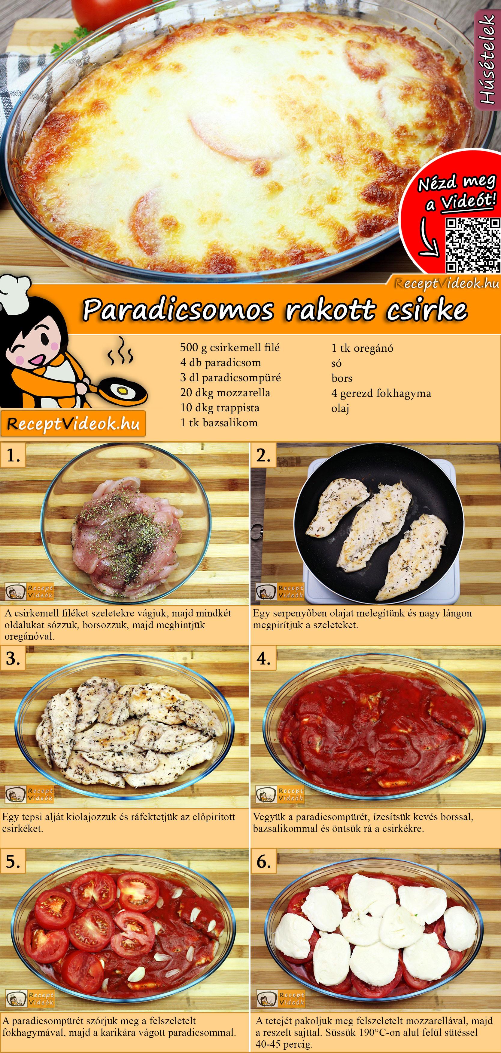 Paradicsomos rakott csirke recept elkészítése videóval