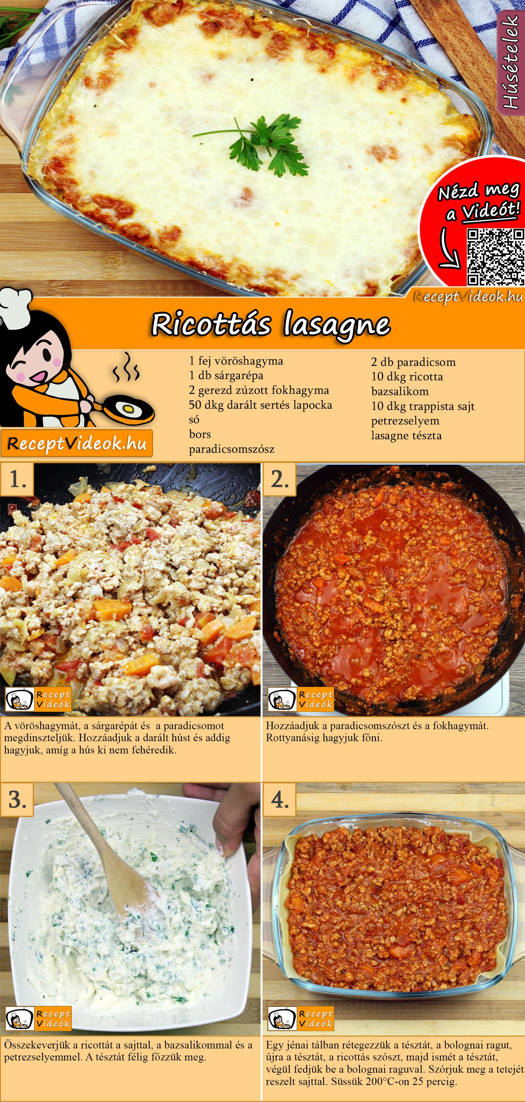 Ricottás lasagne recept elkészítése videoóal
