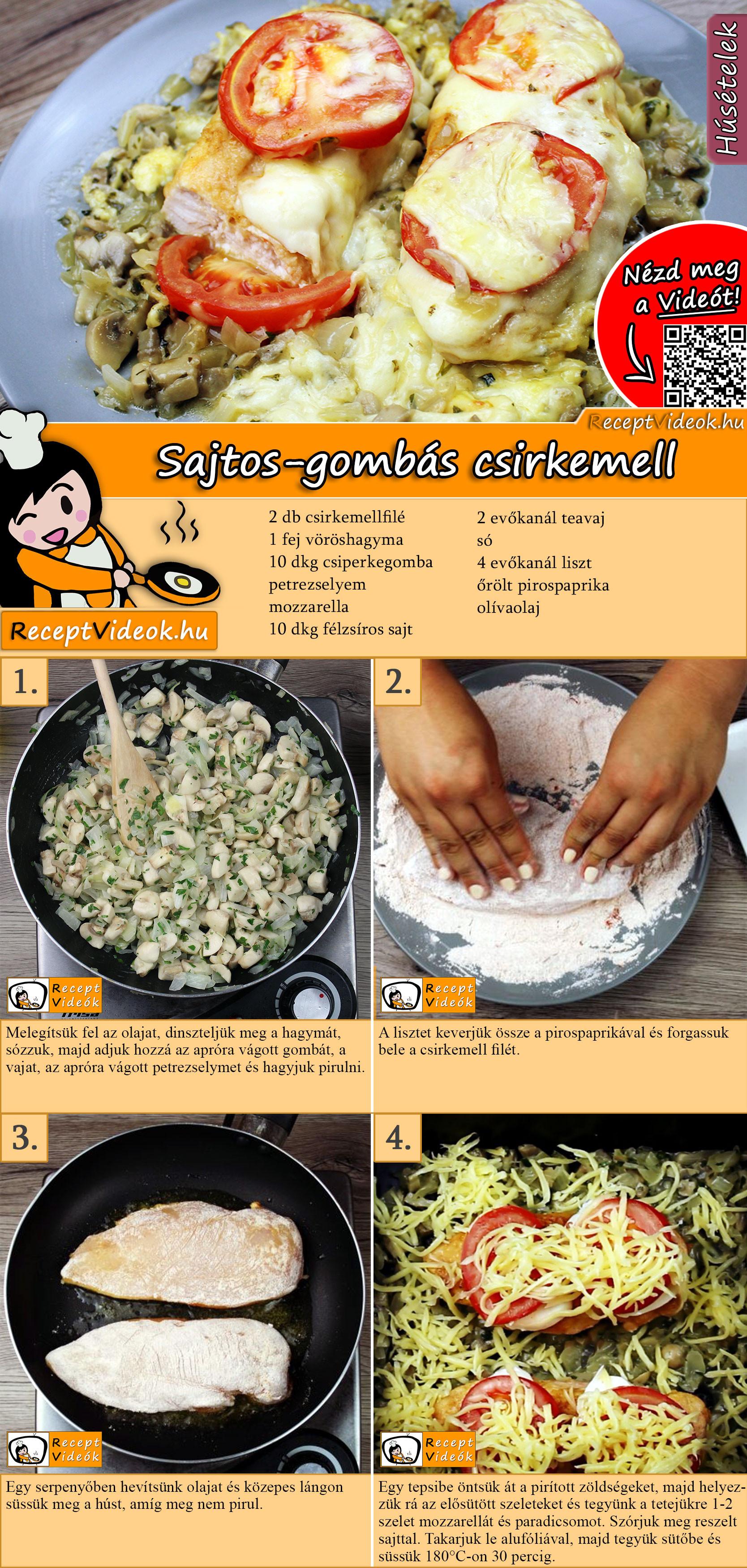 Sajtos-gombás csirkemell recept elkészítése videóval