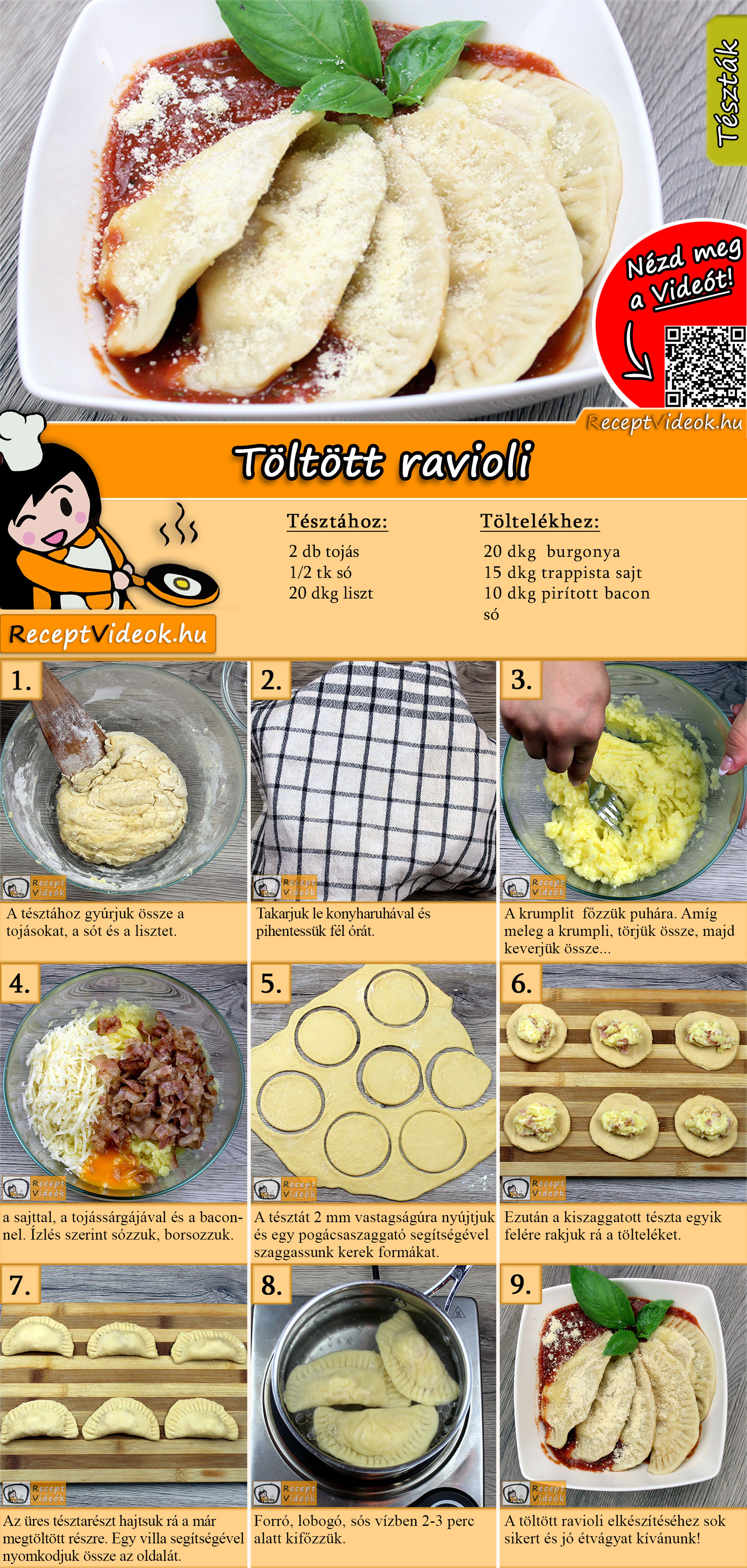 Töltött ravioli recept elkészítése videóval