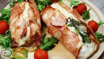 Csirkemell receptek:Csirkemelltekercs rukkolás fetasajttal töltve elkészítése - Recept Videók