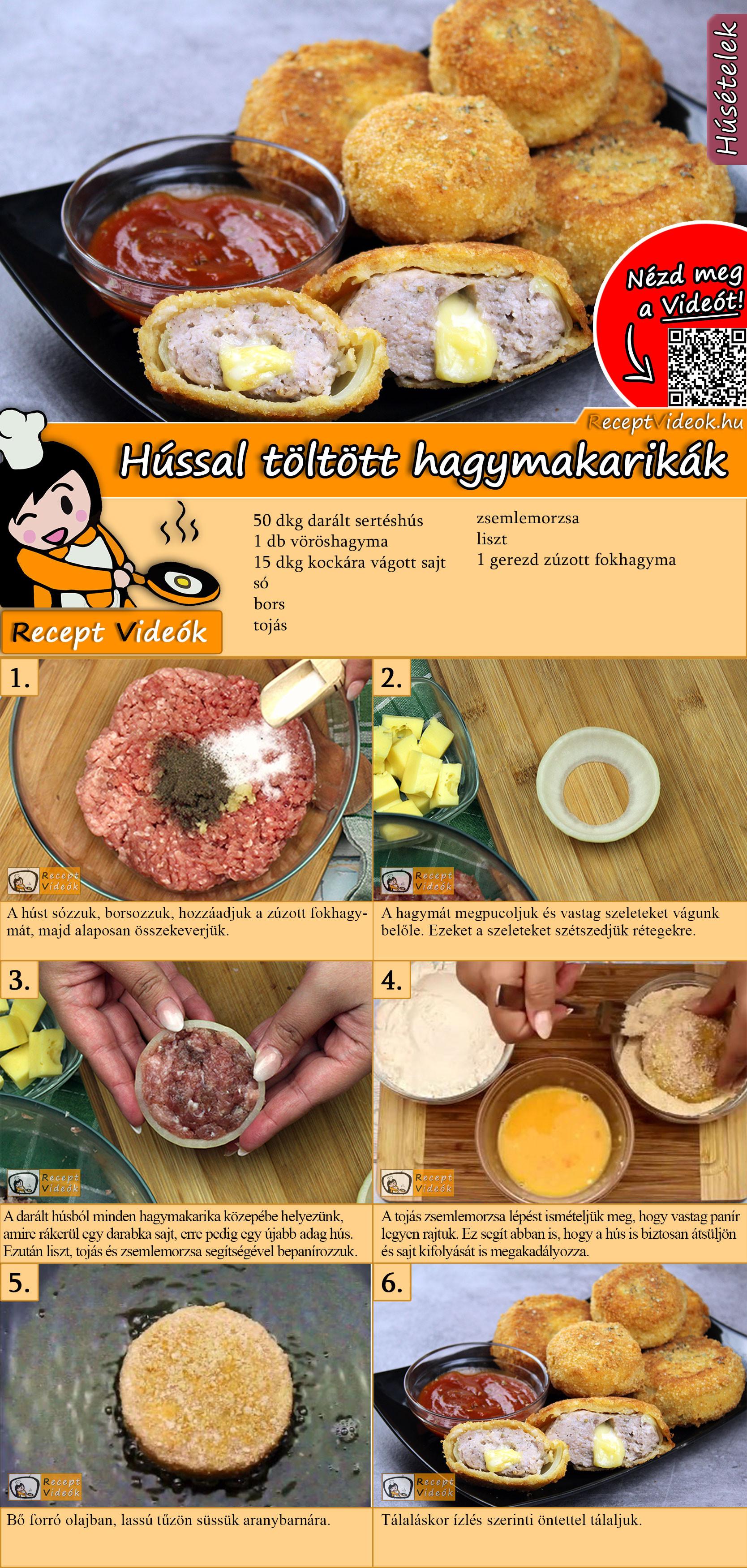 Hússal töltött hagymakarikák recept elkészítése videóval