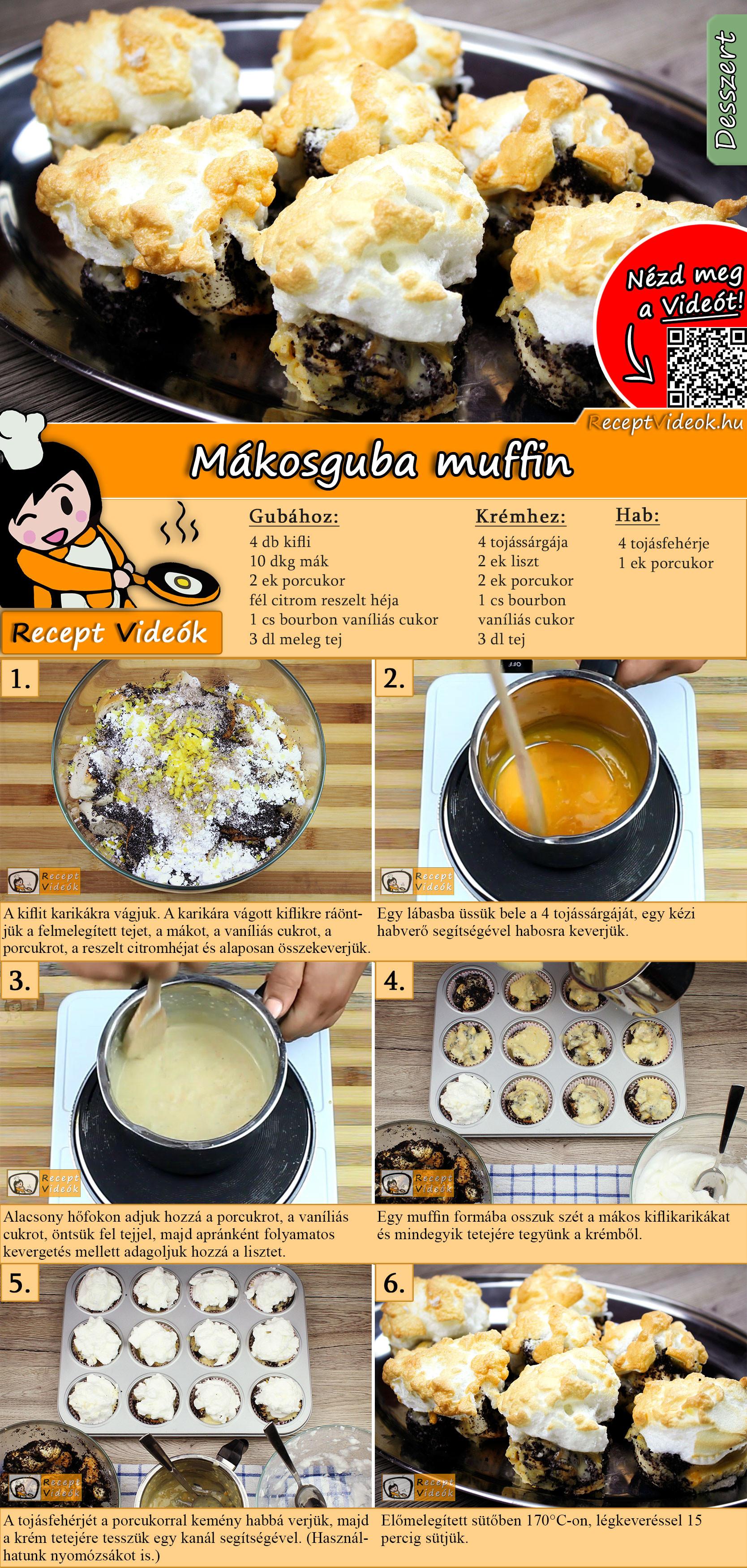 Mákosguba muffin recept elkészítése videóval