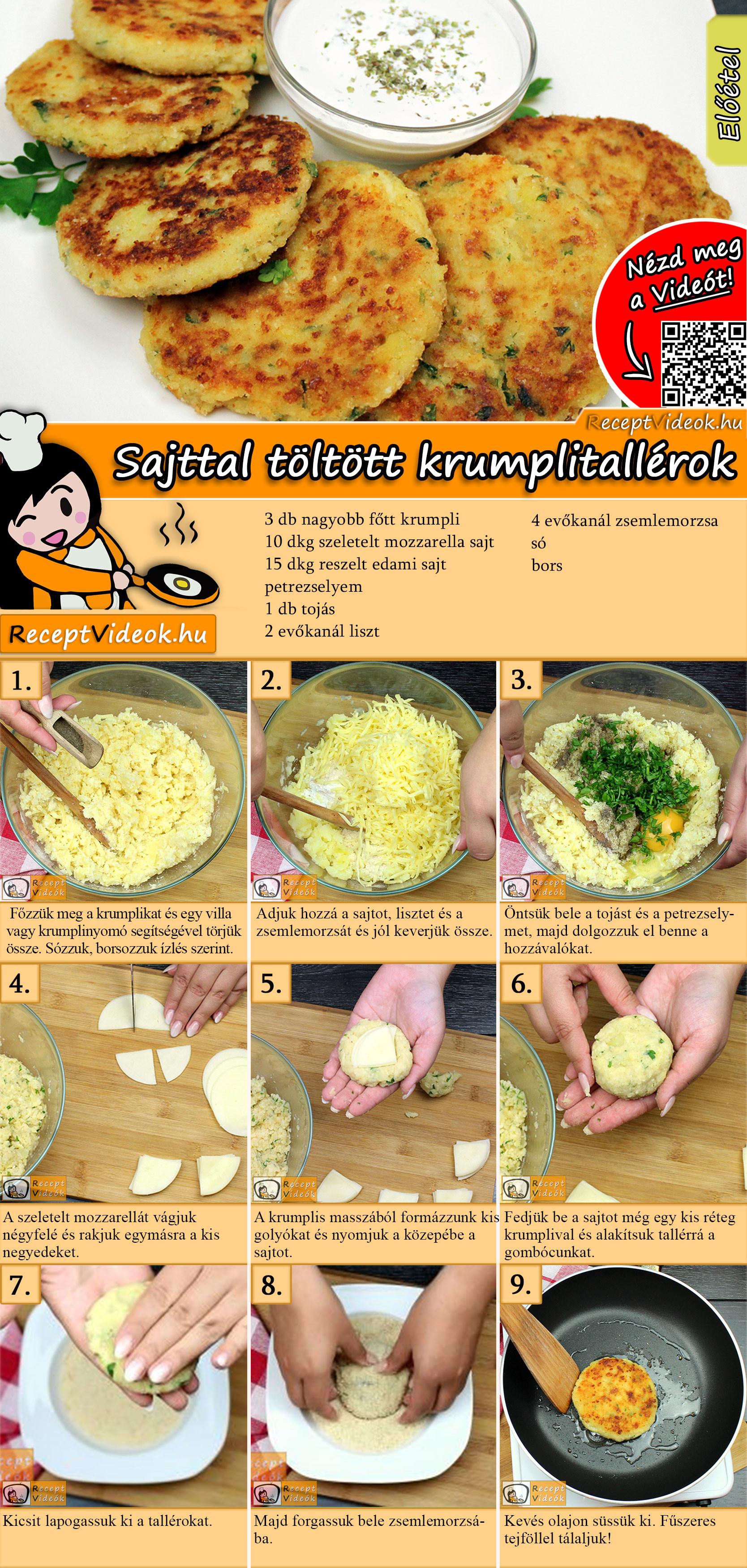 Sajttal töltött krumplitallérok recept elkészítése videóval