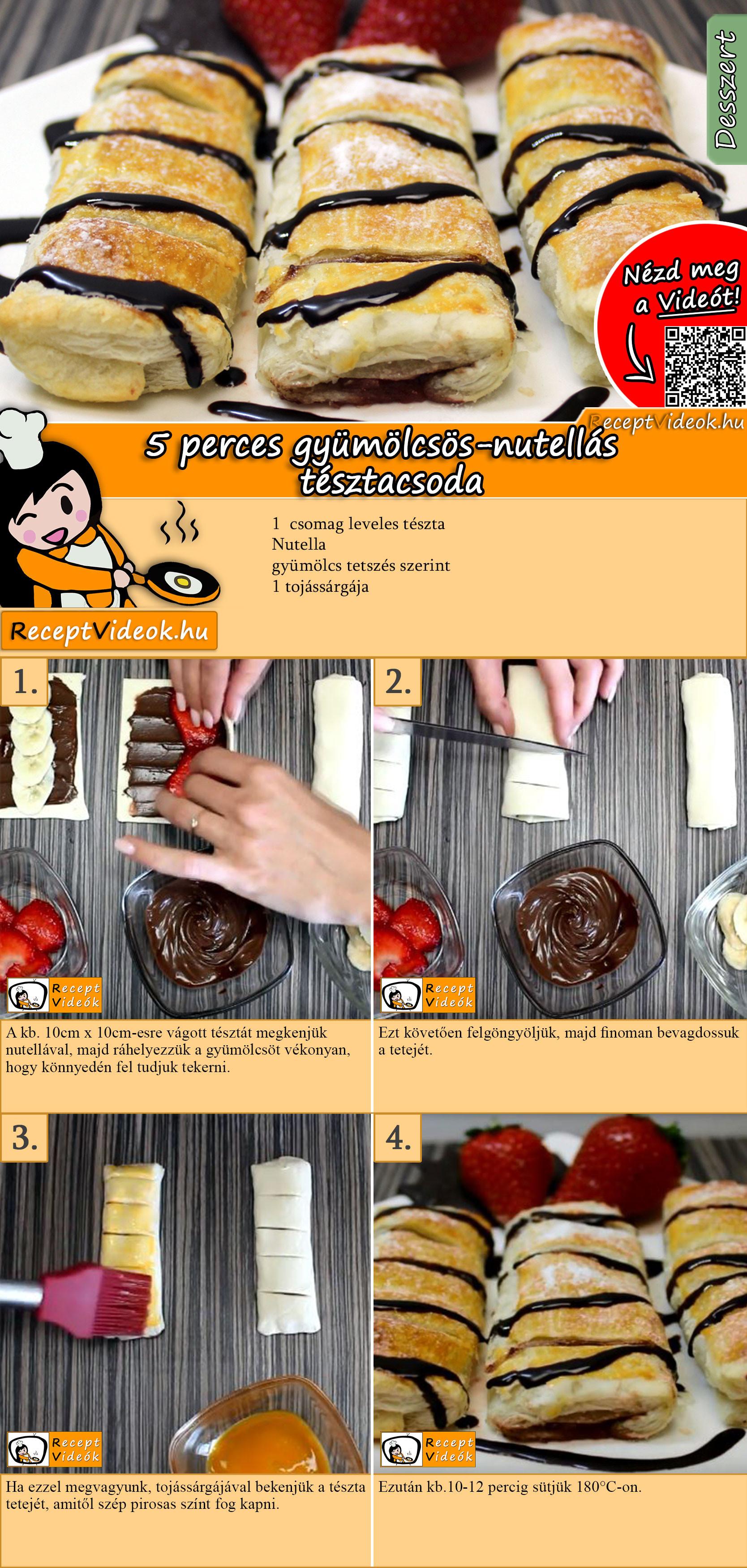 5 perces gyümölcsös-nutellás tésztacsoda recept elkészítése videóval