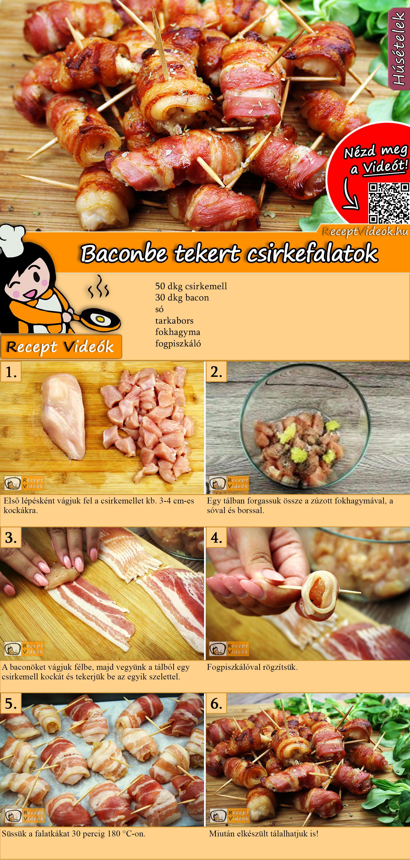 Baconbe tekert csirkefalatok recept elkészítése videóval
