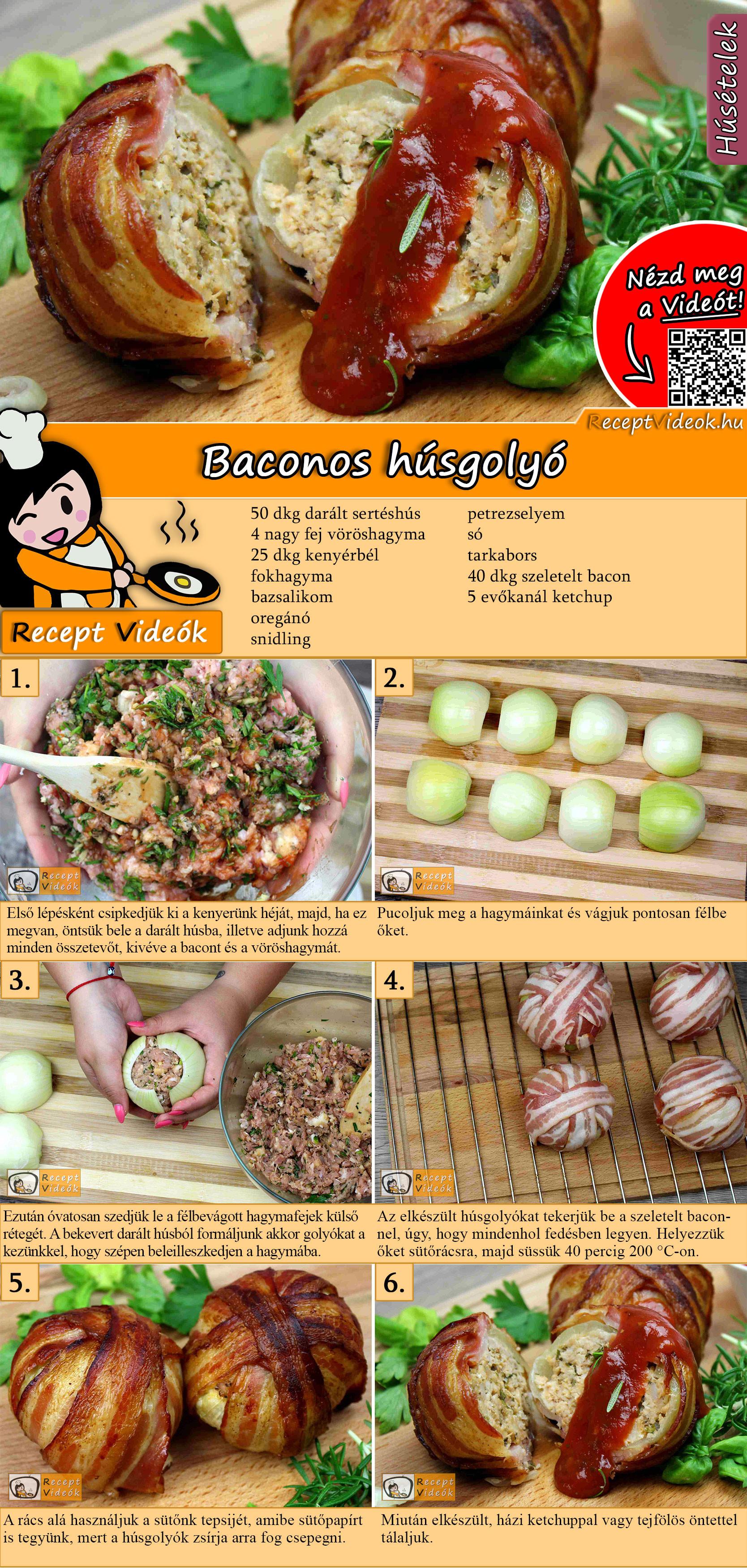 Baconös húsgolyó recept elkészítése videóval
