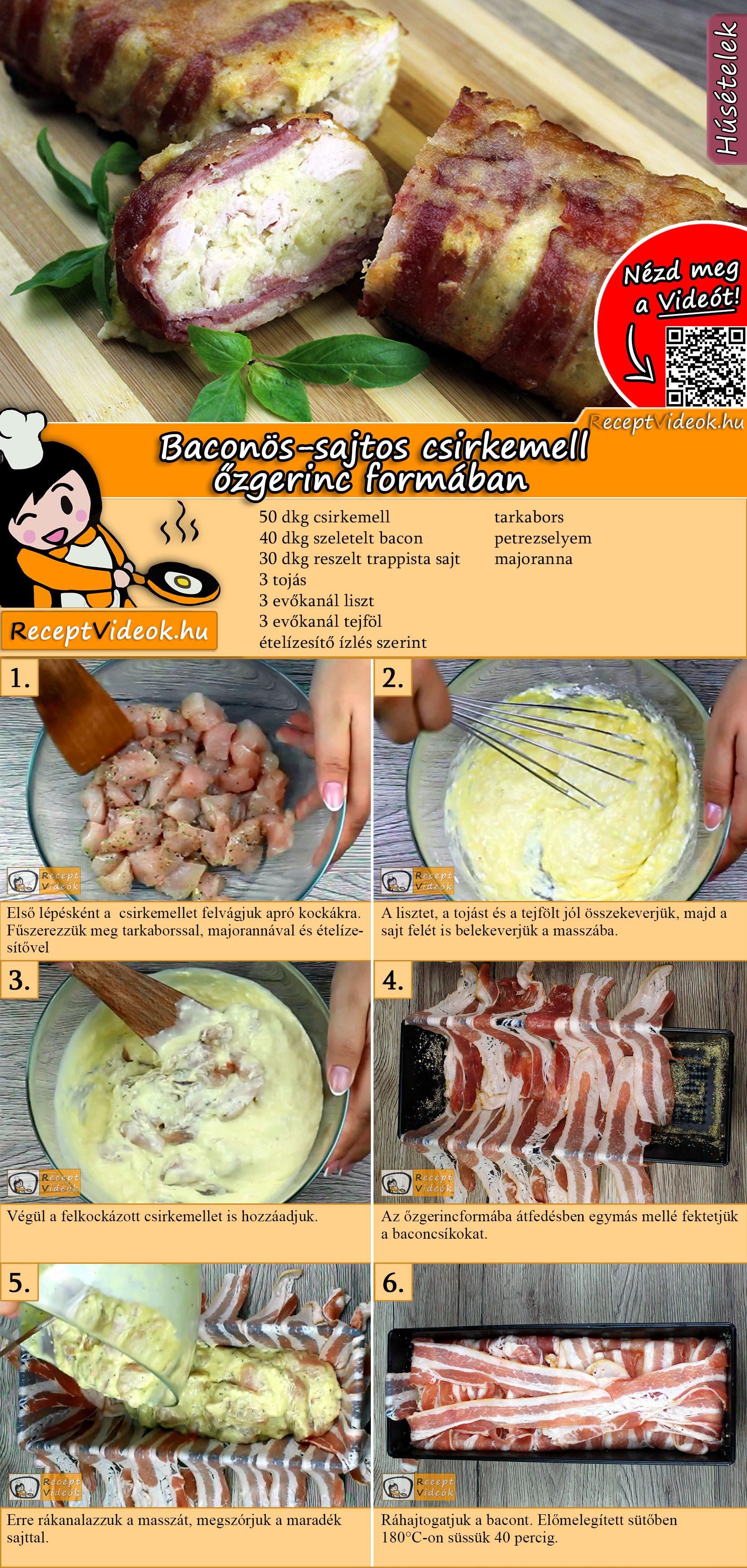 Baconos sajtos csirkemell Őzgerinc formában recept elkészítése videóval