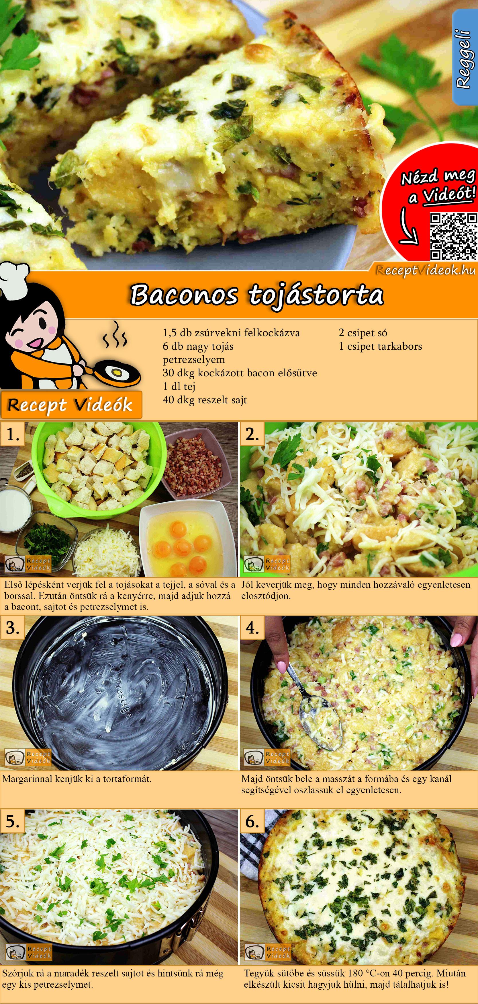 Baconos tojástorta recept elkészítése videóval