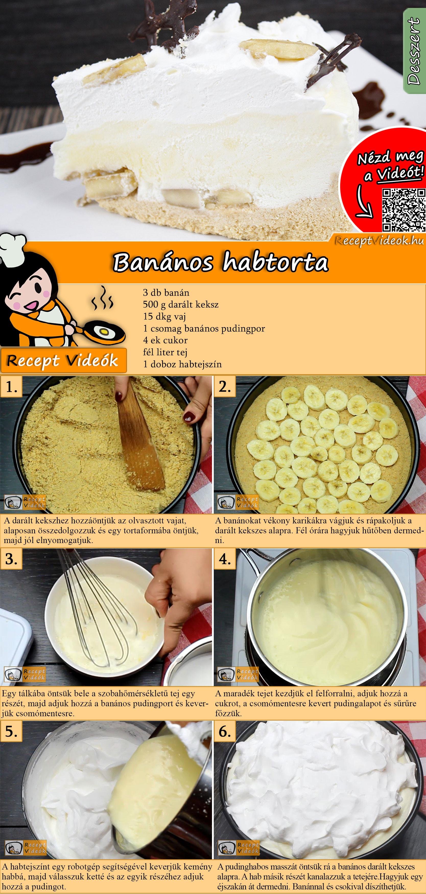 Banános habtorta recept elkészítése videóval