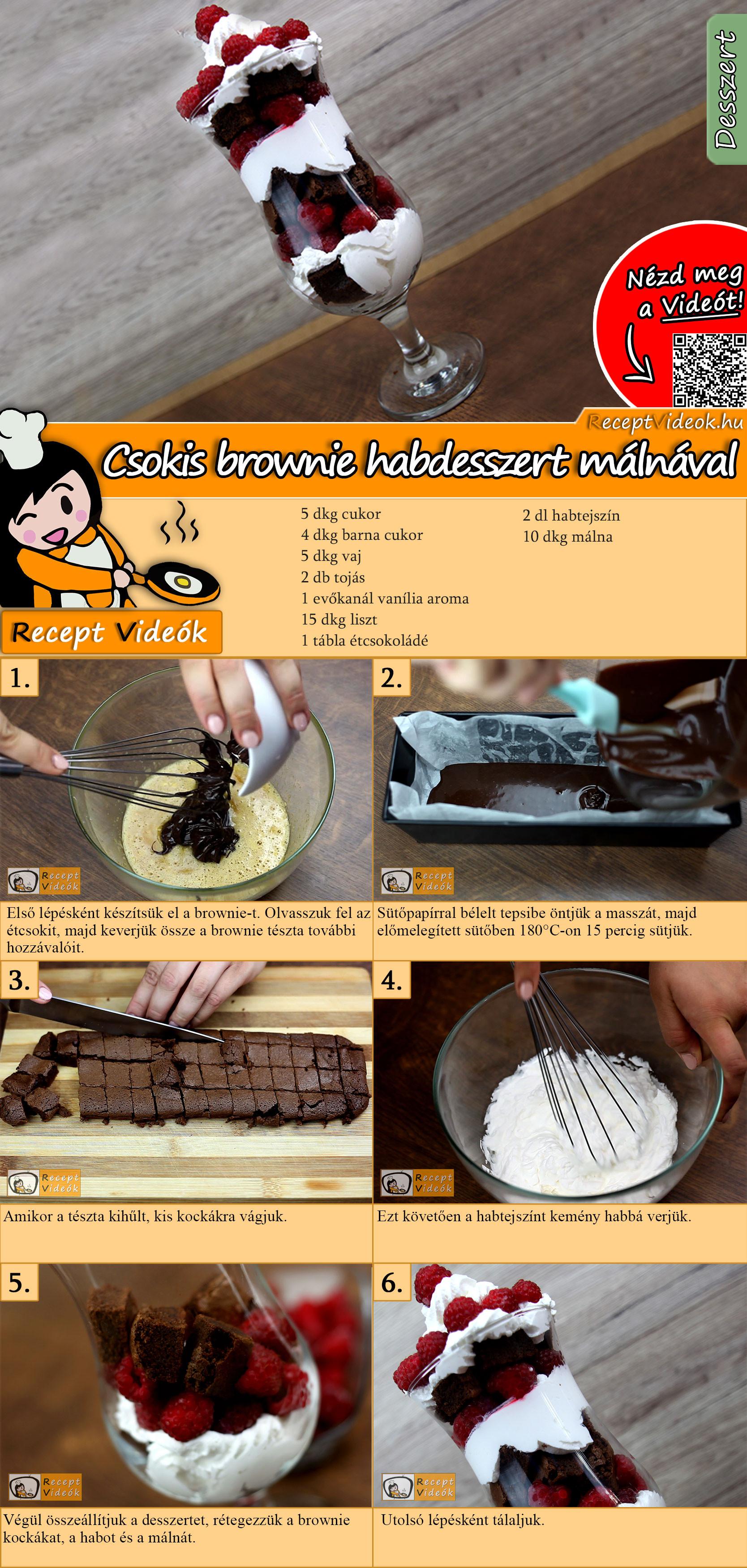 Csokis brownie habdesszert málnával recept elkészítése videóval