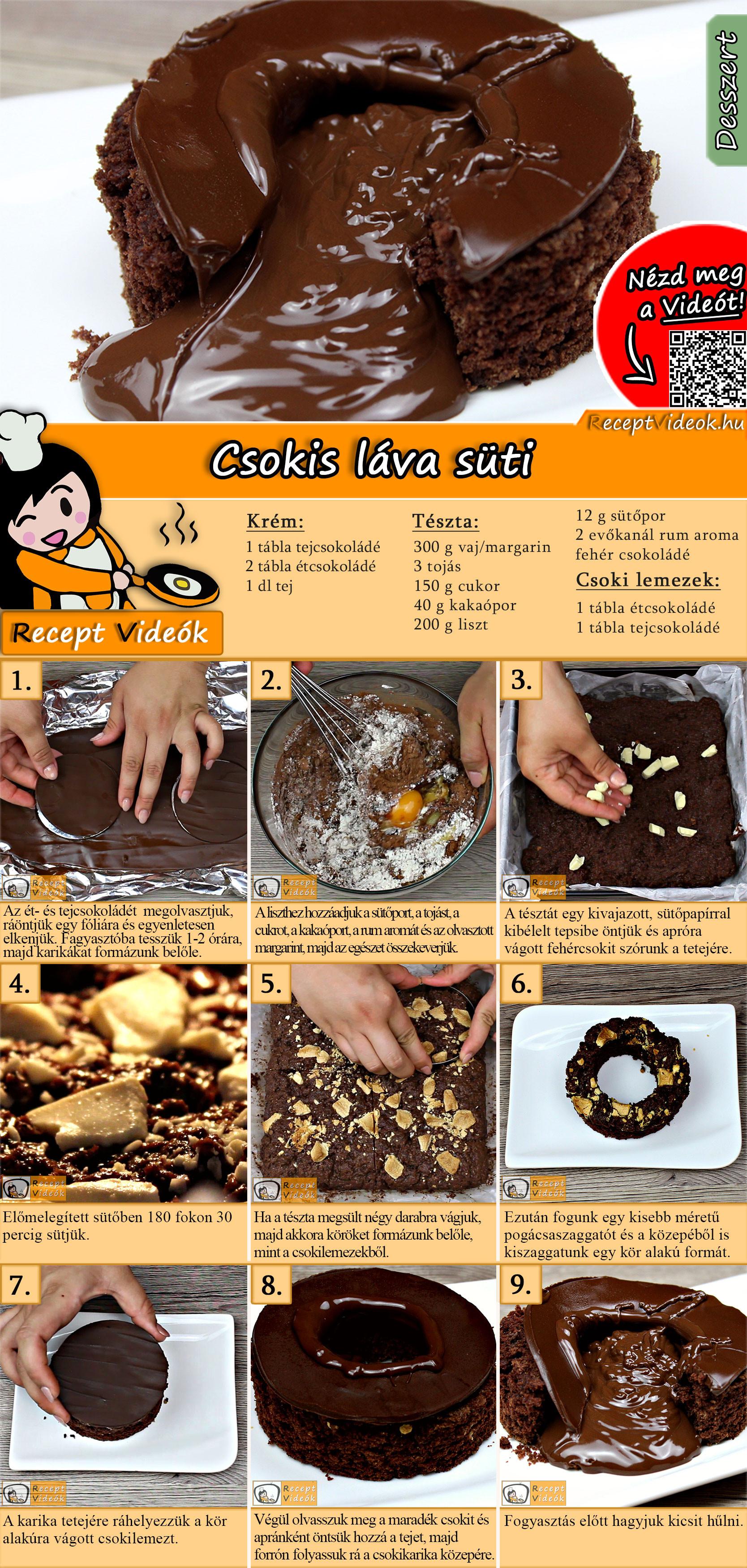 Csokis láva süti recept elkészítése videóval