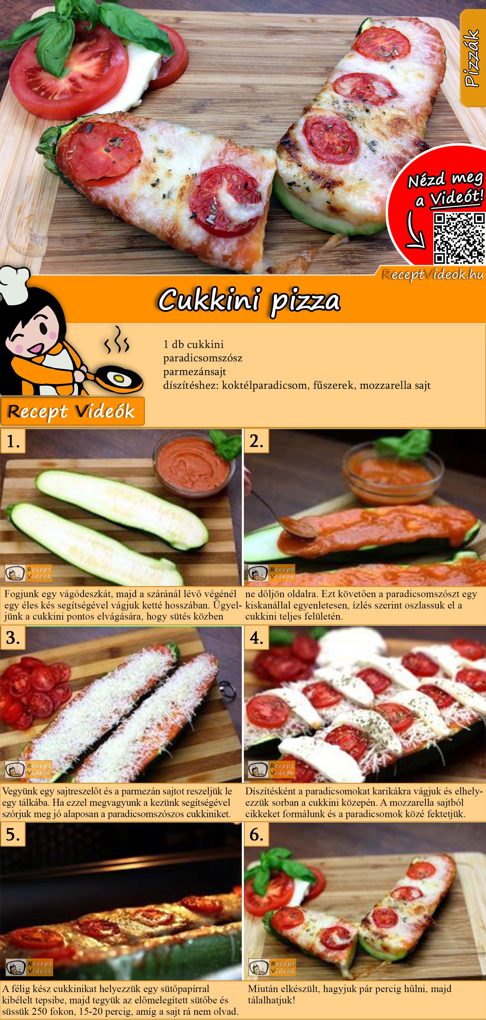 Cukkini pizza recept elkészítése videóval