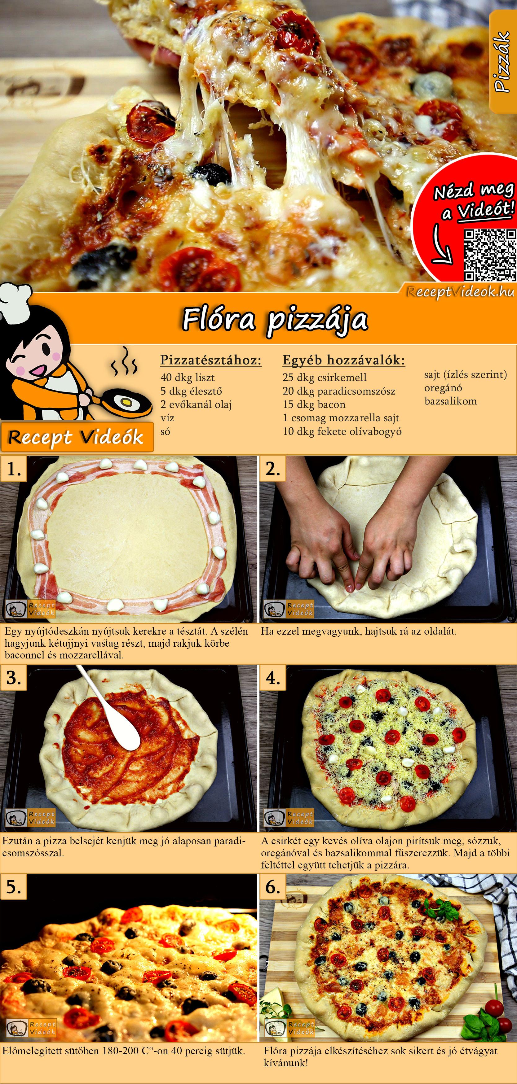 Flóra pizzája recept elkészítése videóval
