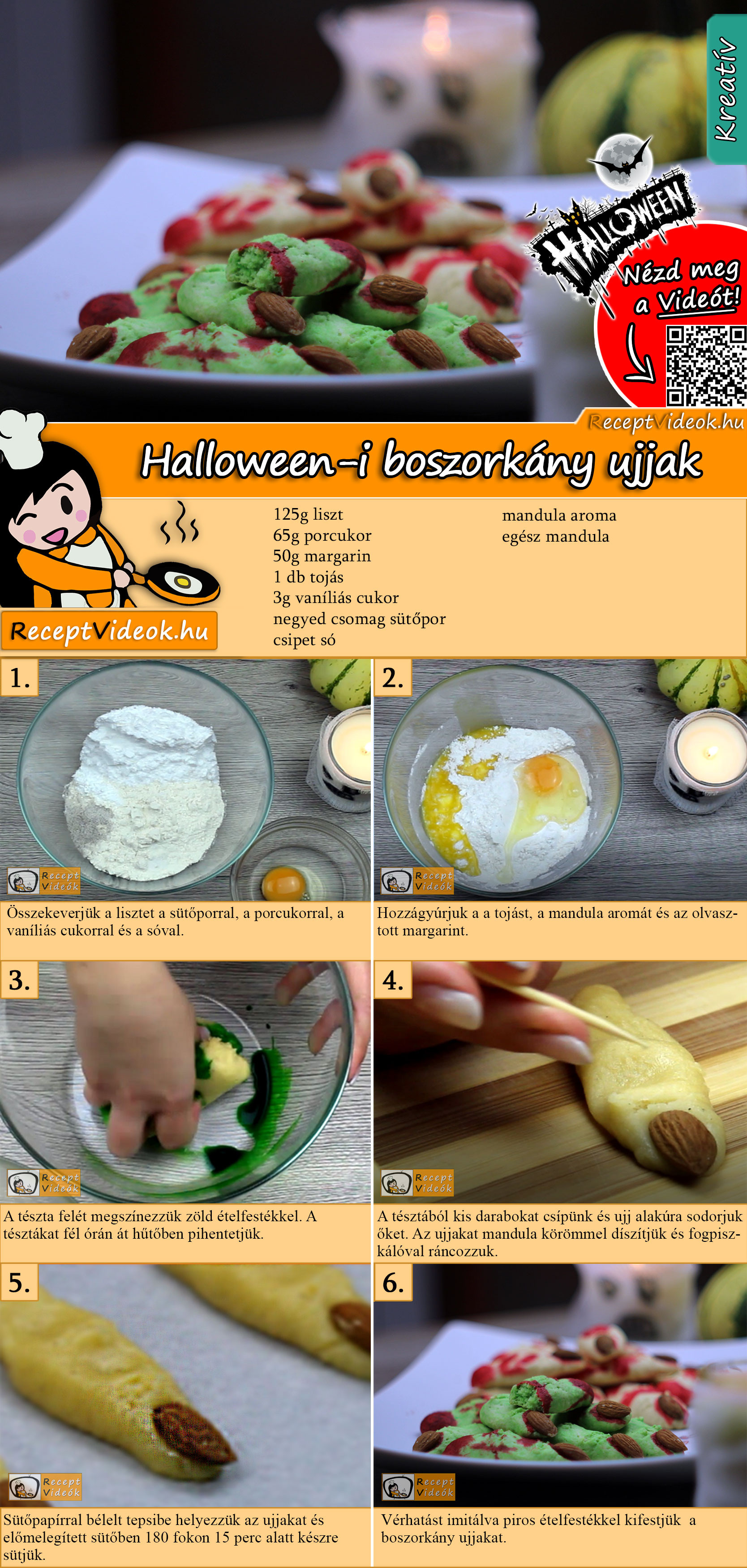 Halloween-i boszorkány ujjak recept elkészítése videóval