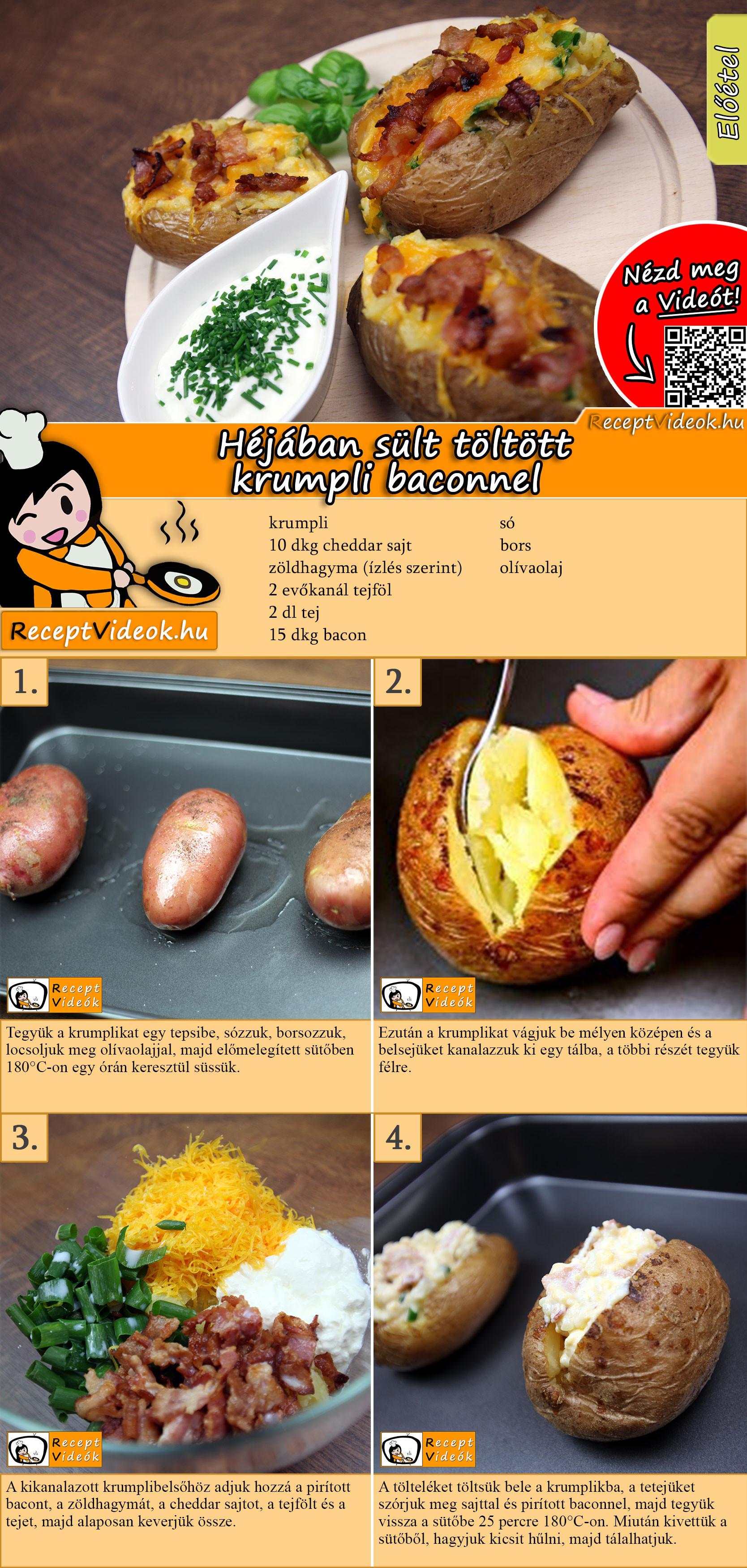Héjában sült töltött krumpli baconnel recept elkészítése videóval