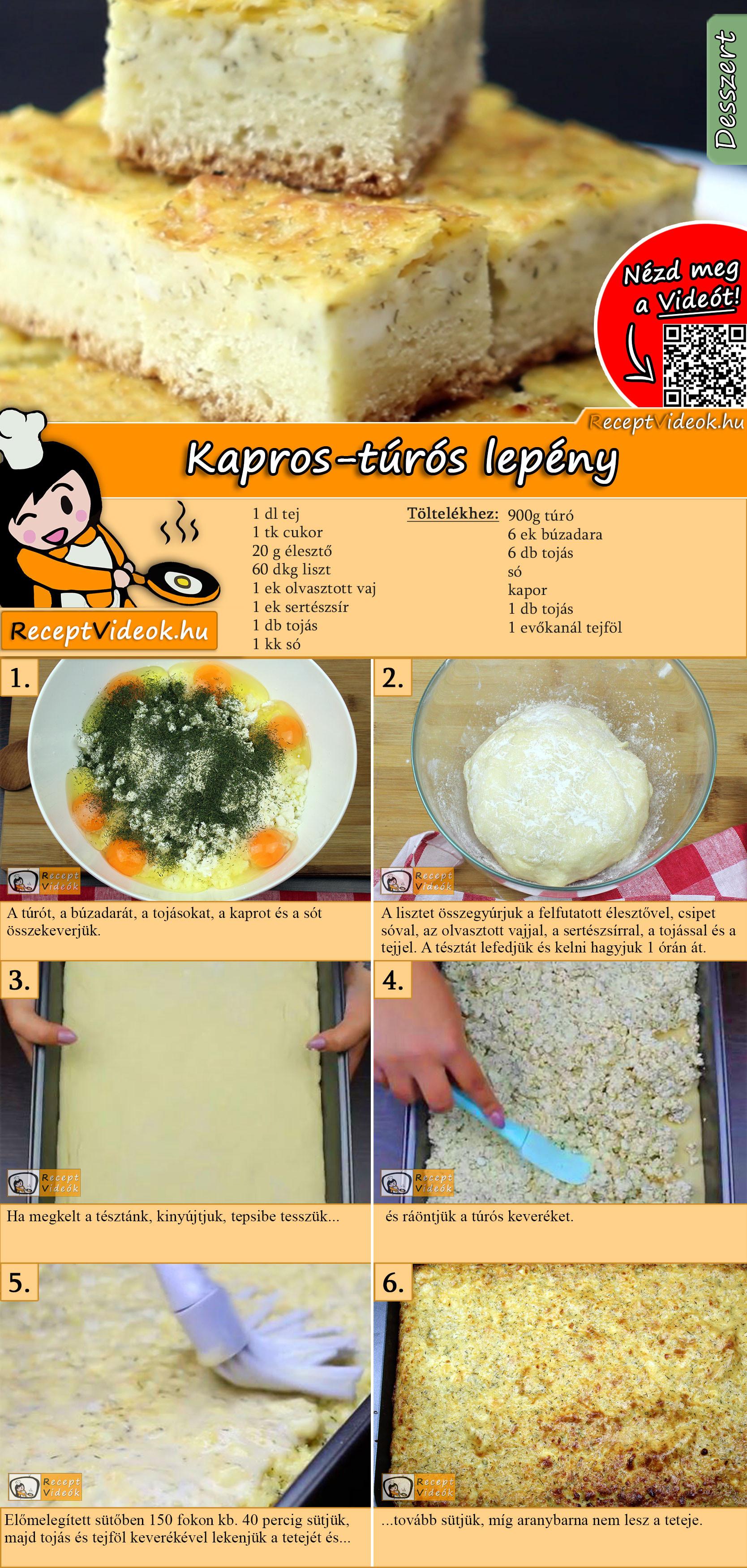 Kapros-túrós lepény recept elkészítése videóval