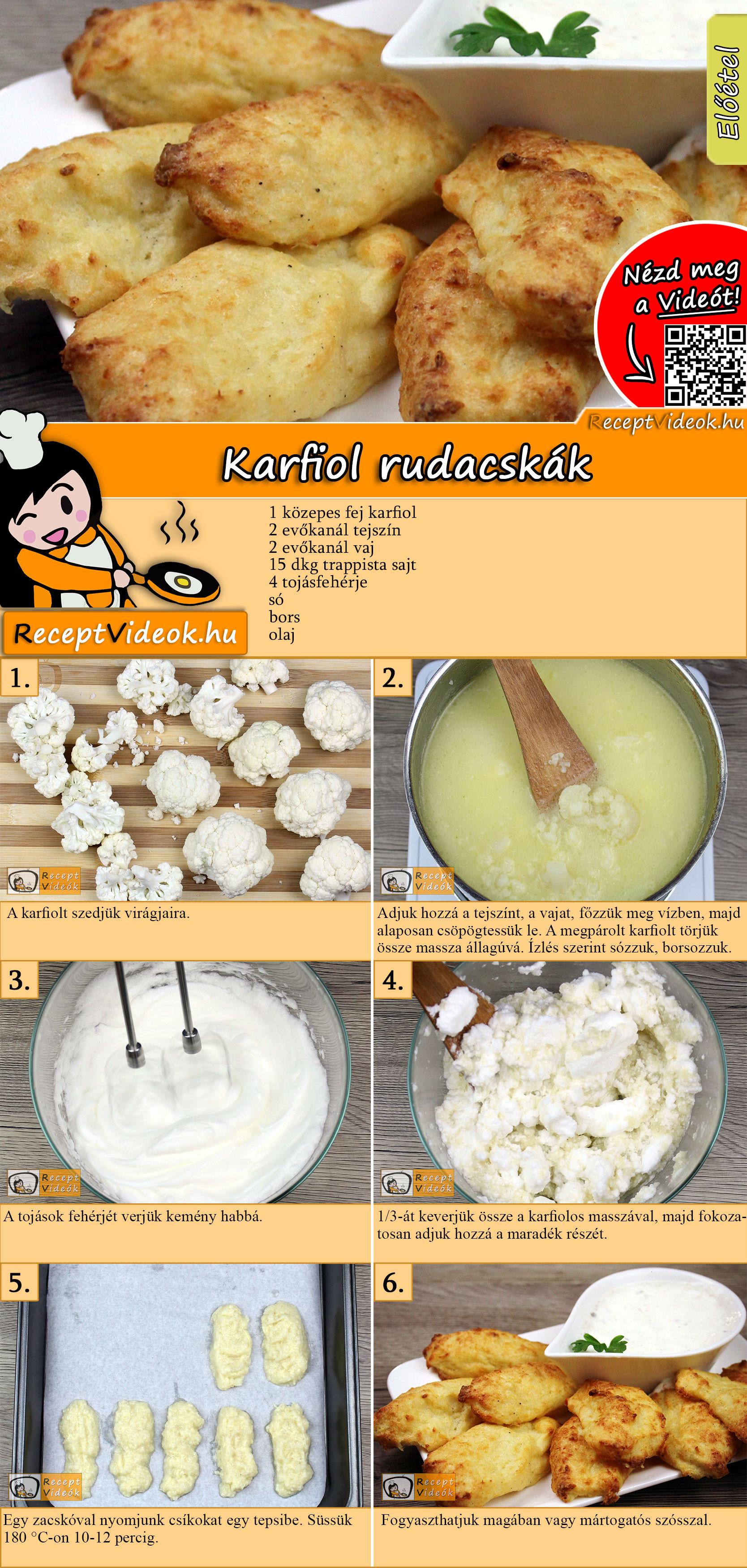 Karfiol rudacskák recept elkészítése videóval