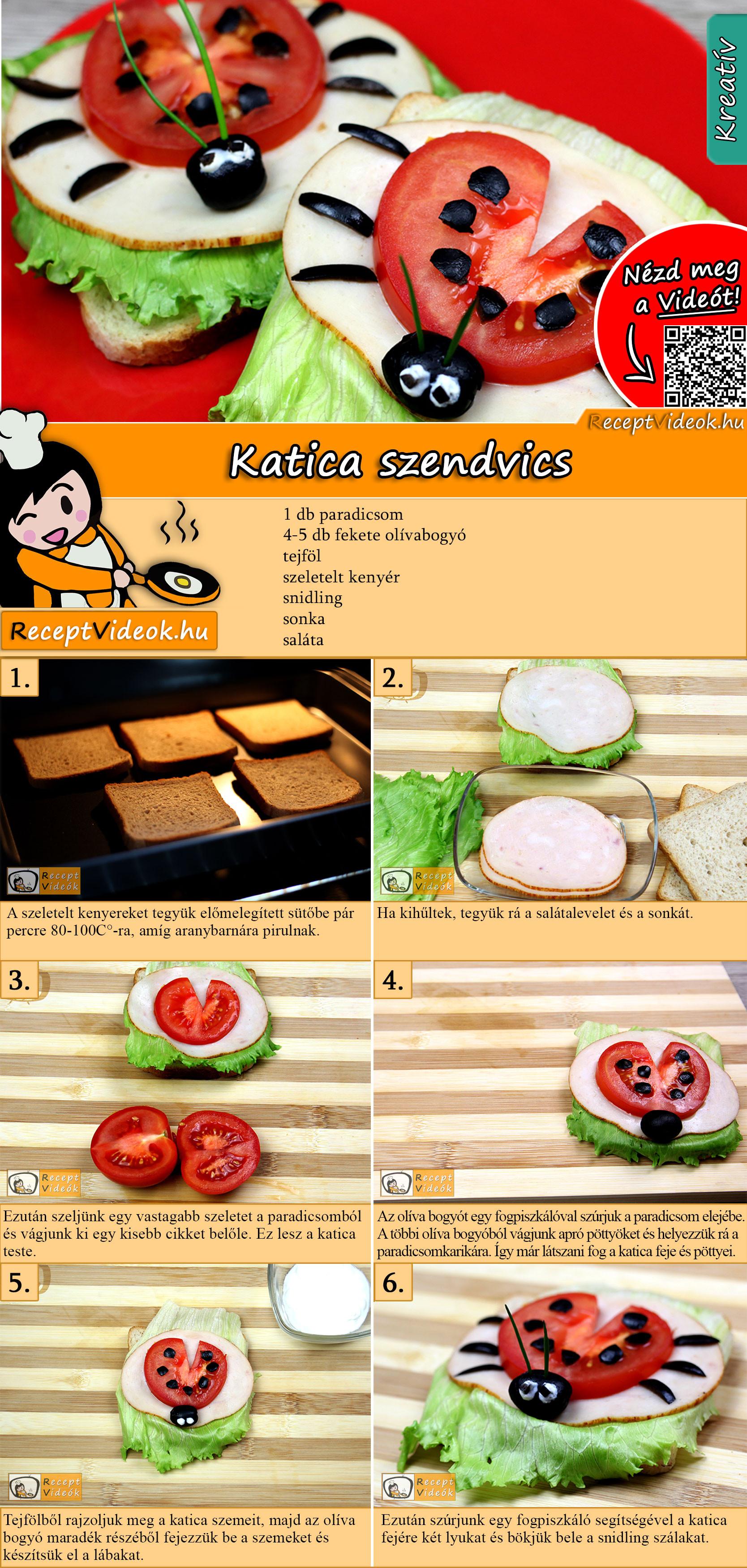 Katica szendvics recept elkészítése videóval