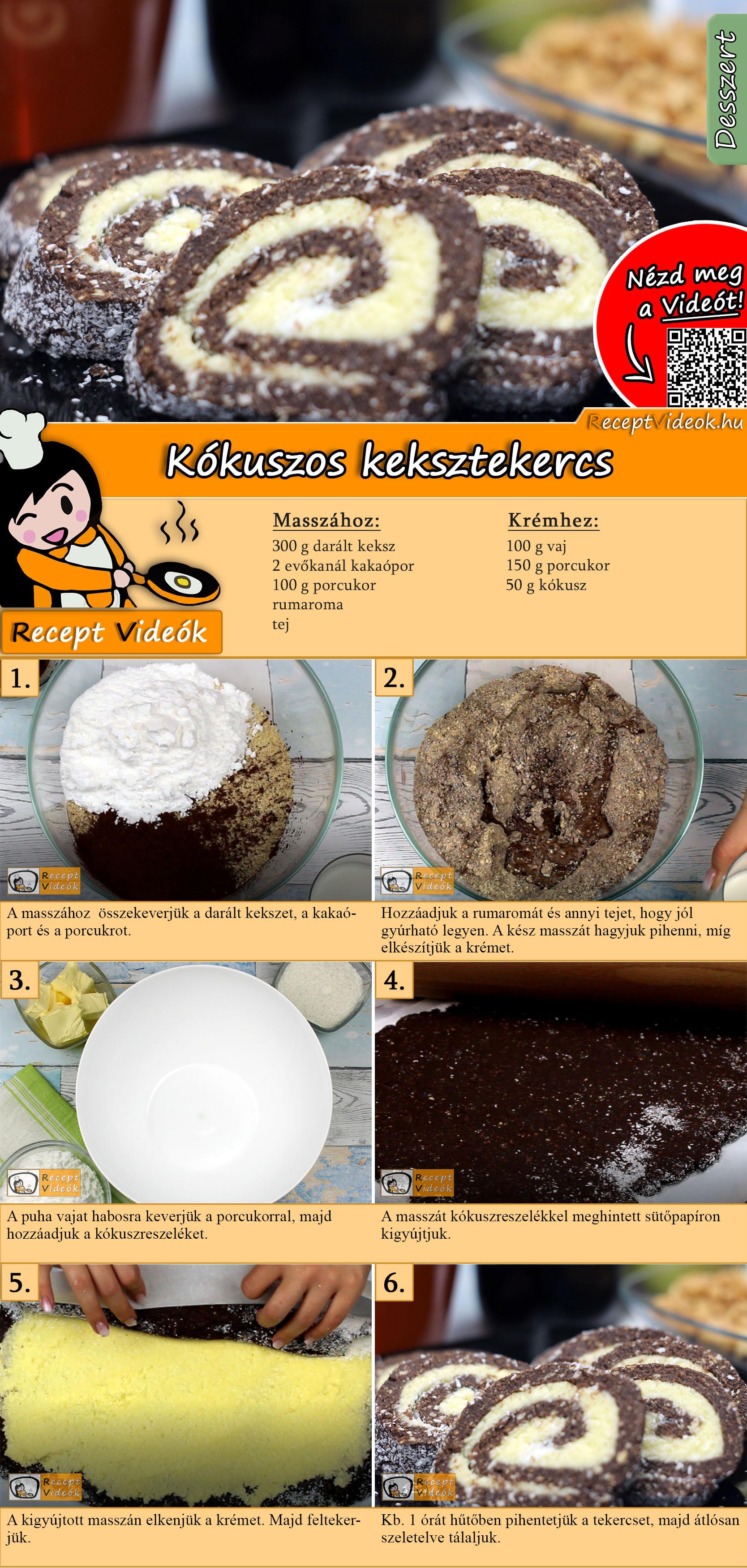 Kókuszos keksztekercs recept elkészítése videóval
