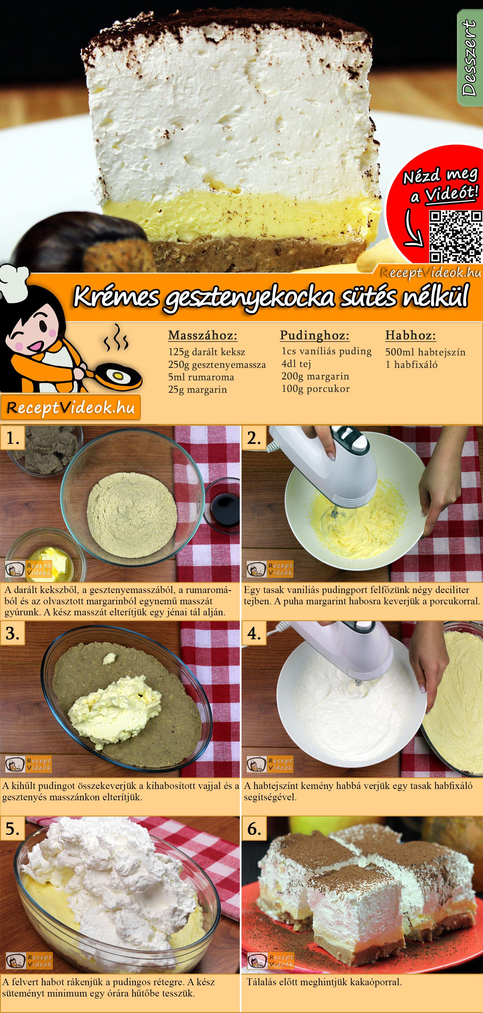 Krémes gesztenyekocka sütés nélkül recept elkészítése videóval