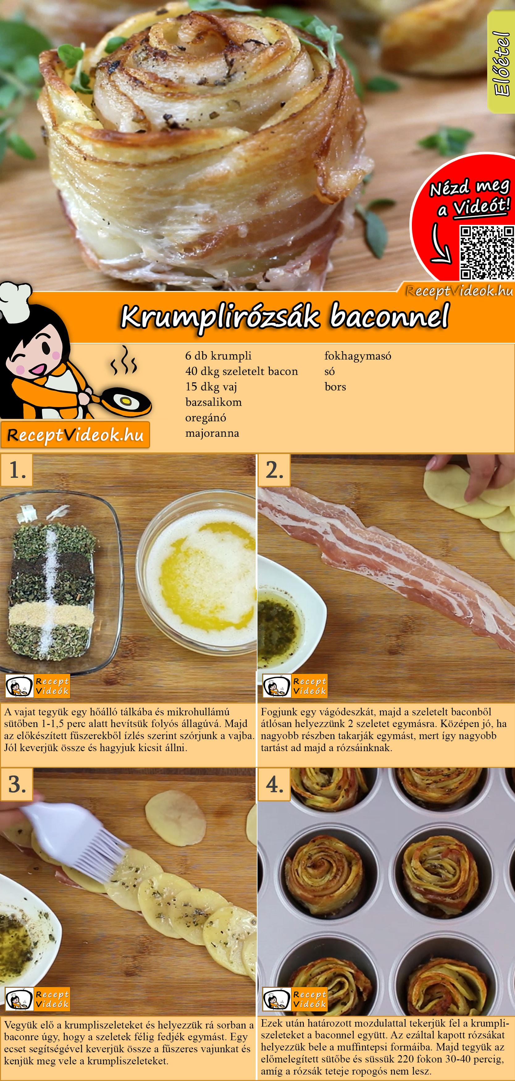 Krumplirózsák baconnel recept elkészítése videóval
