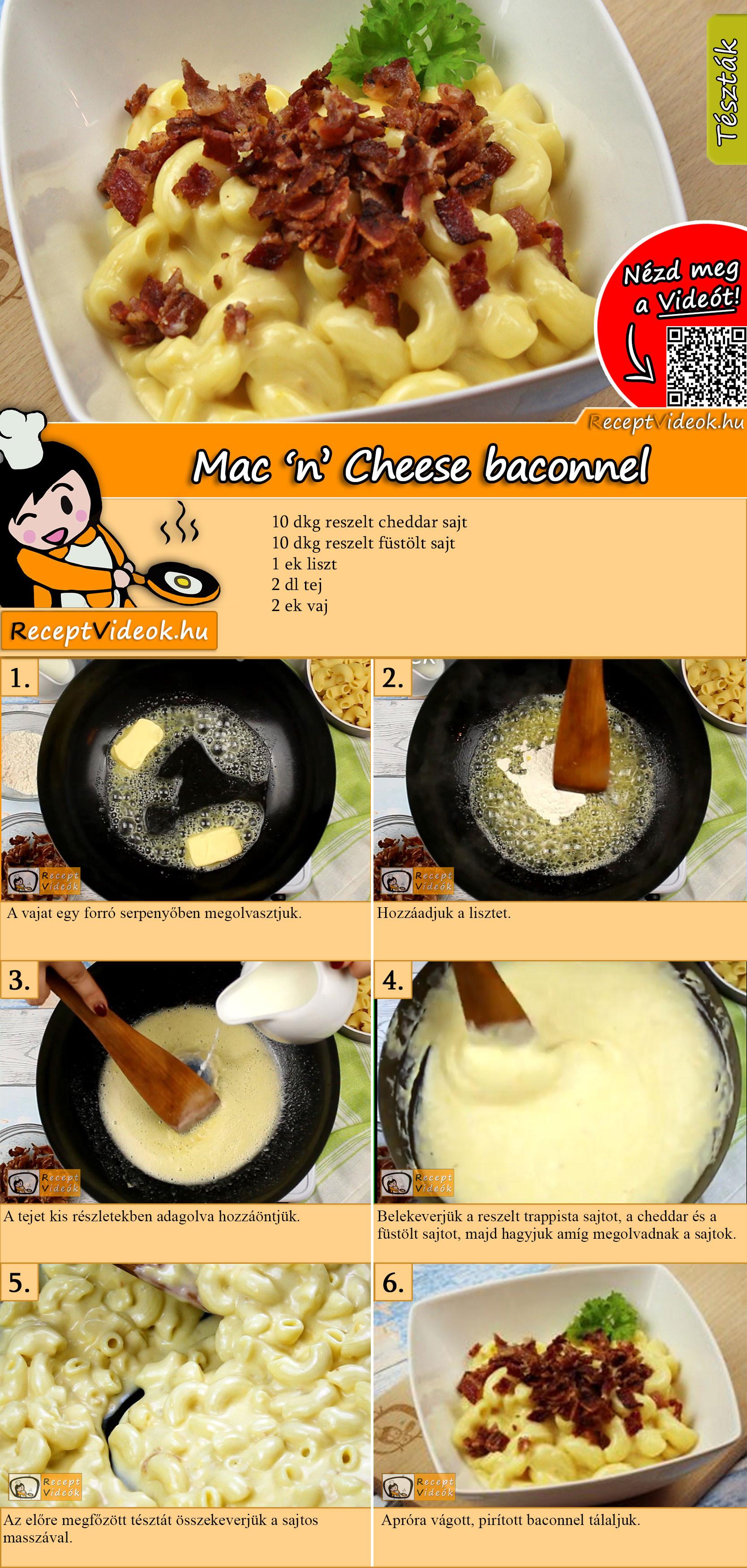 Mac 'n' Cheese baconnel recept elkészítése videóval
