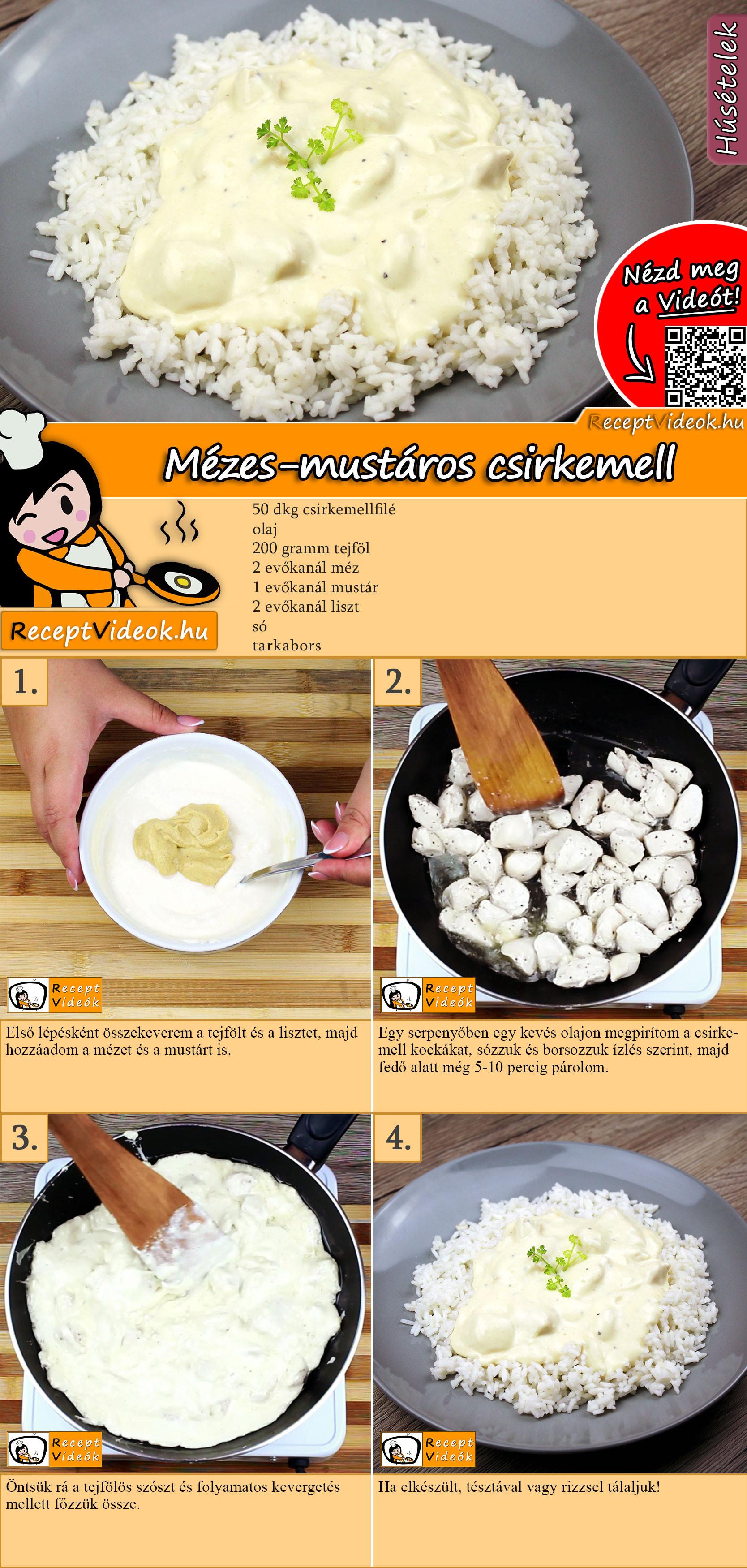 Mézes-mustáros csirkemell recept elkészítése videóval