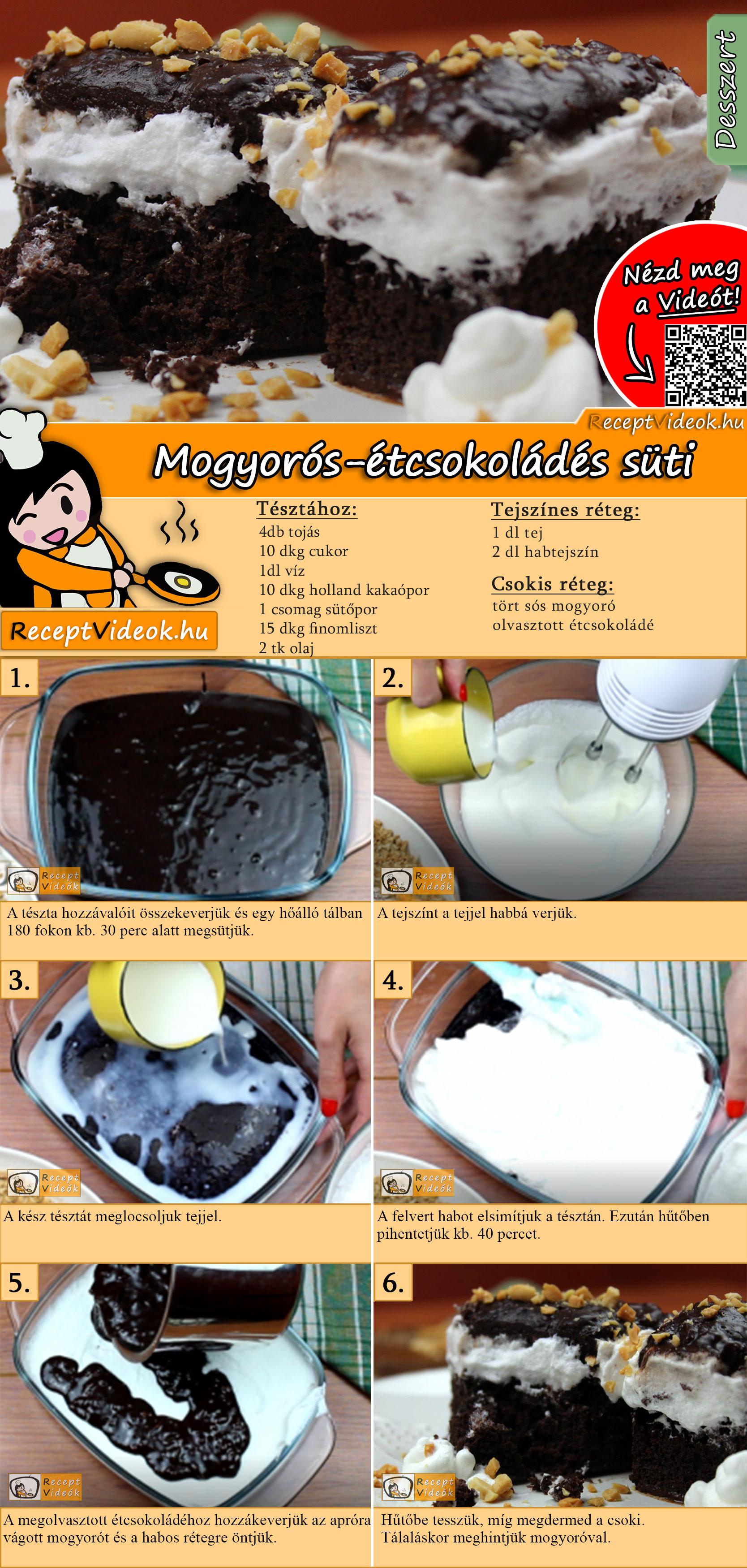 Mogyorós-étcsokoládés süti recept elkészítése videóval