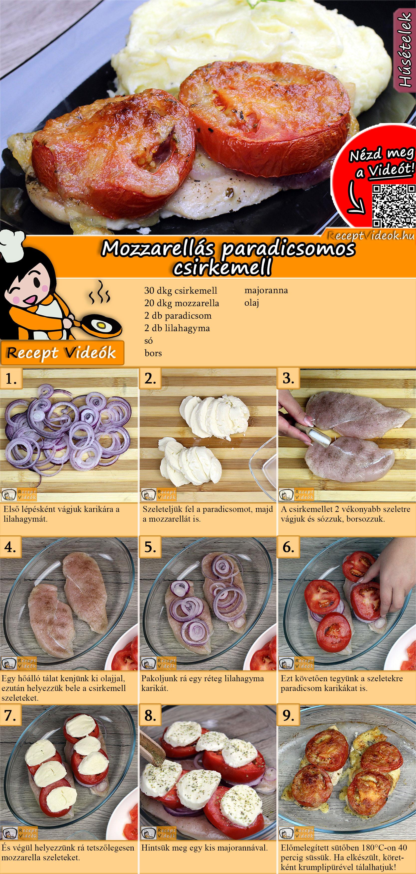 Mozzarellás paradicsomos csirkemell recept elkészítése videóval