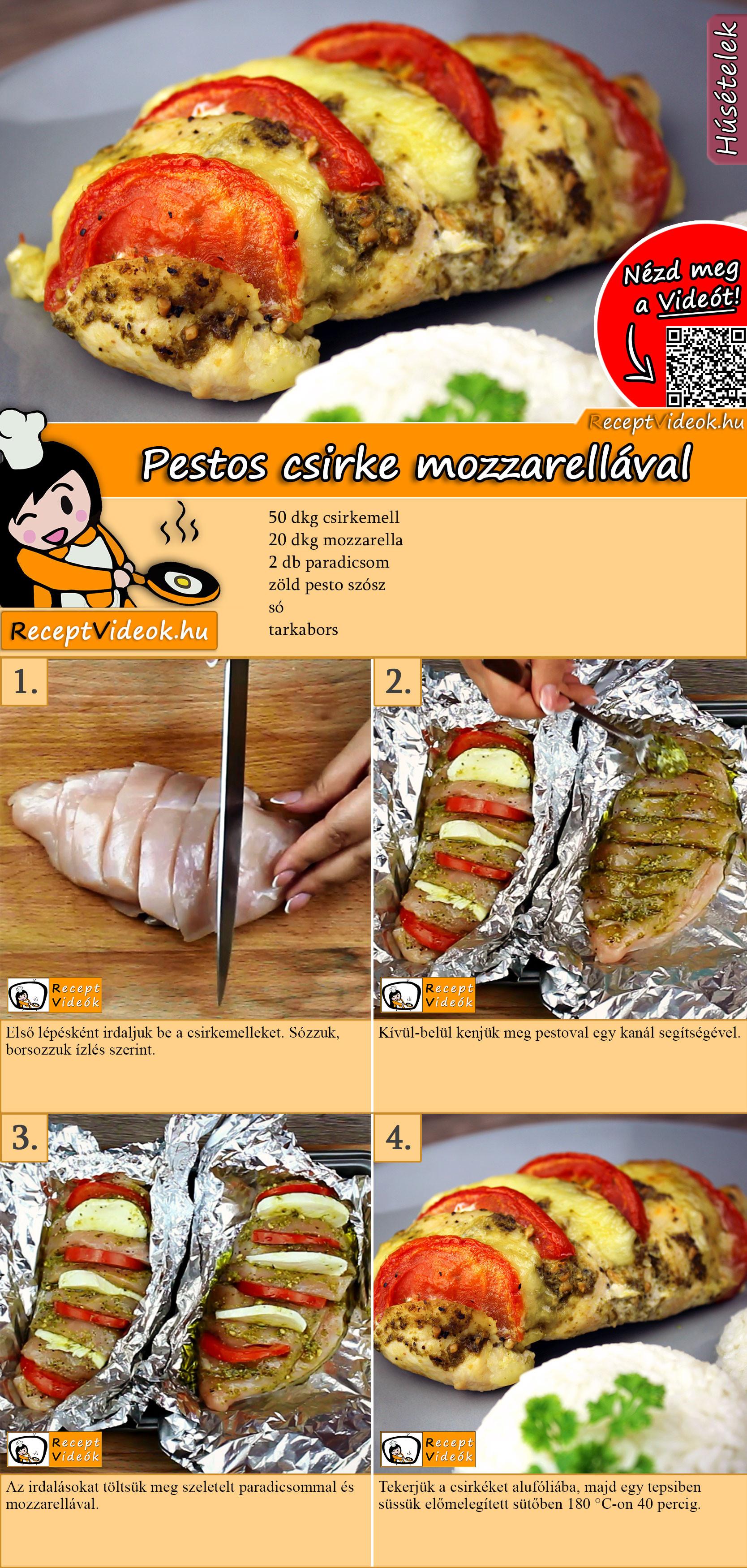 Pestos csirke mozzarellával recept elkészítése videóval