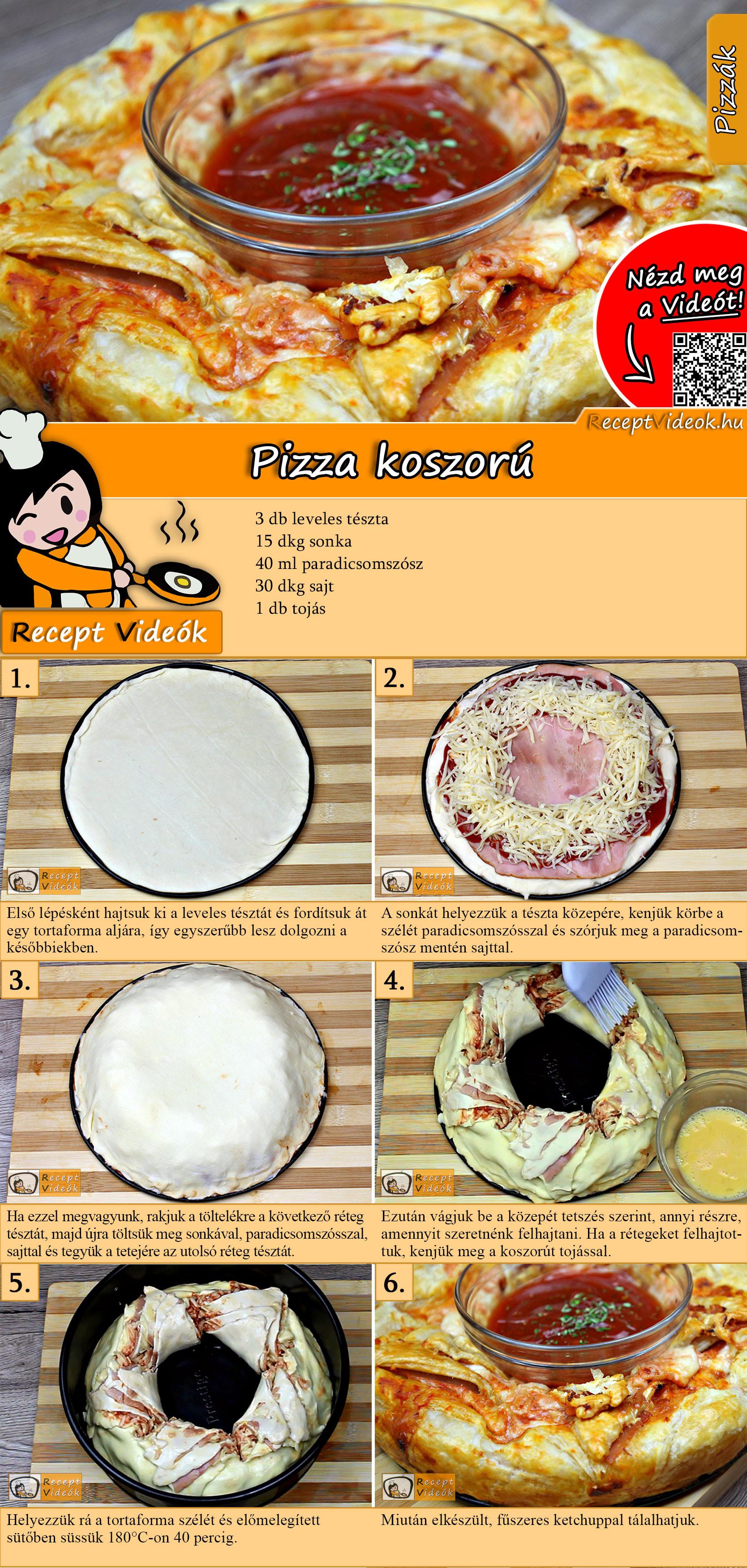 Pizza koszorú recept elkészítése videóval