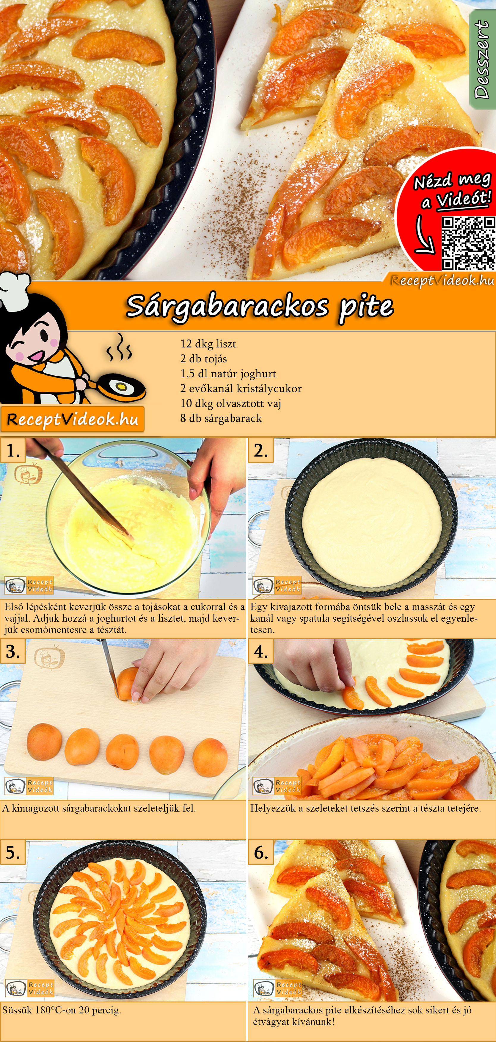 Sárgabarackos pite recept elkészítése videóval