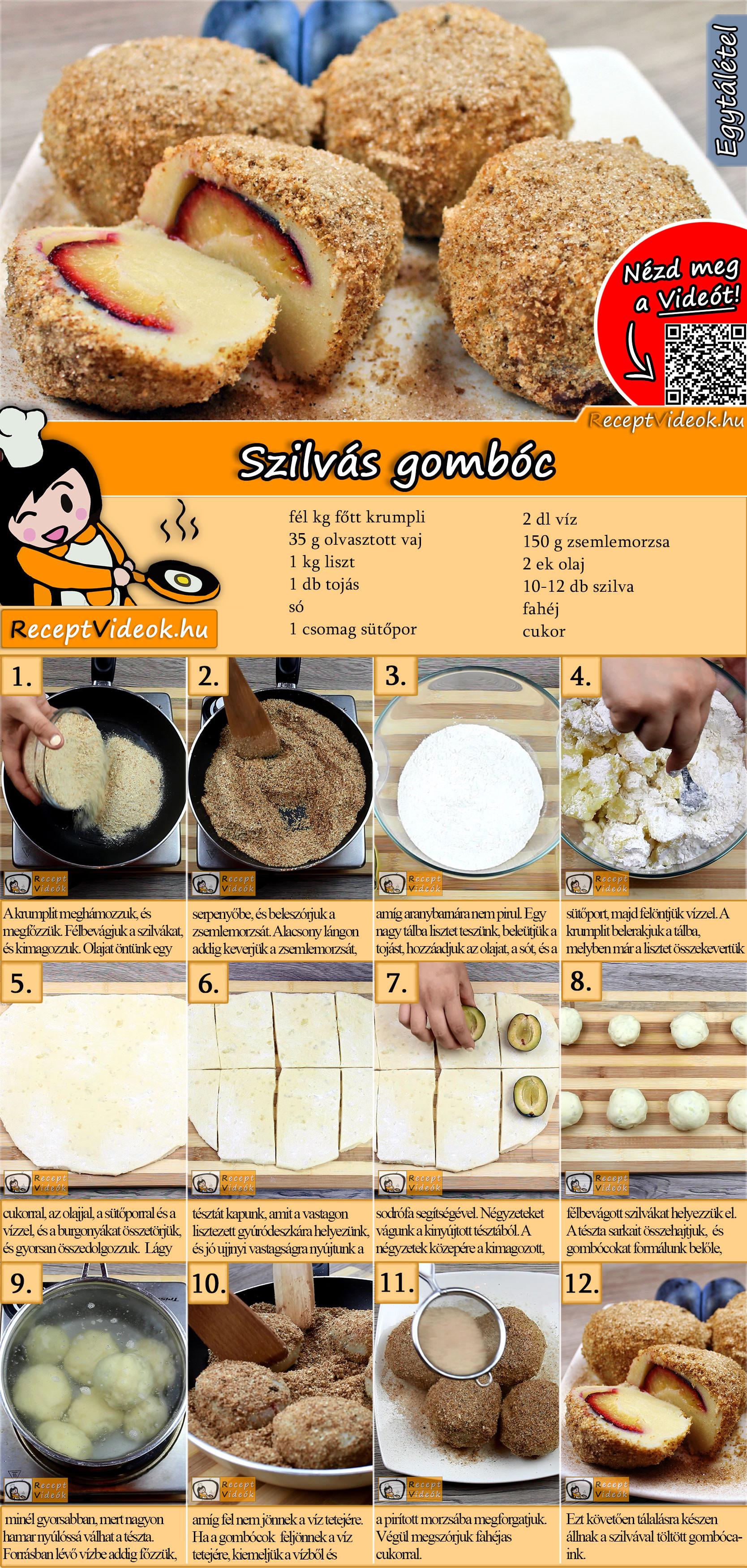 Szilvás gombóc recept elkészítése videóval
