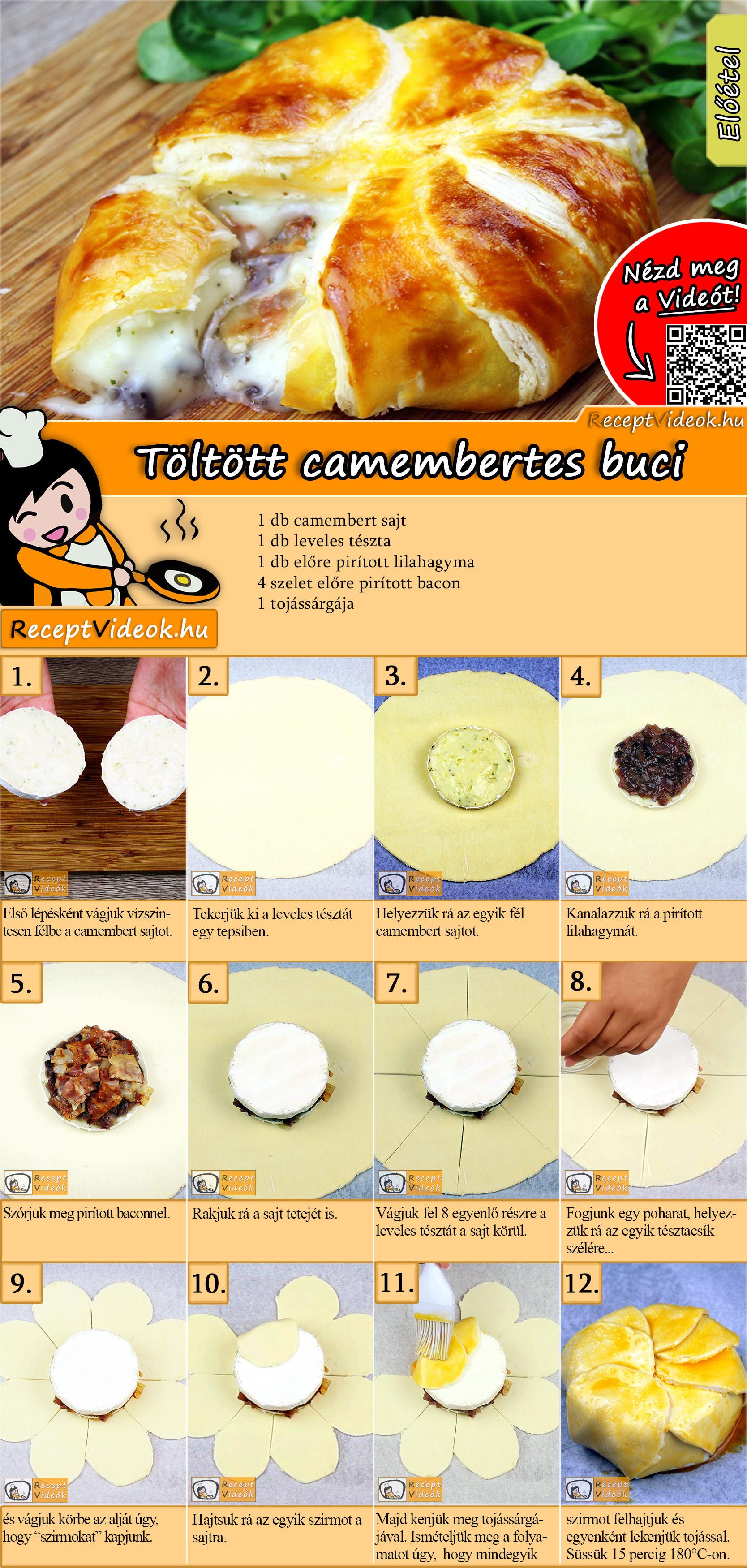Töltött camembertes buci recept elkészítése videóval