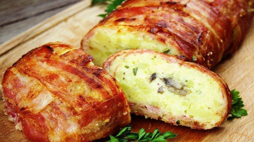 Baconbe tekert krumpli rolád recept elkészítése - Recept Videók