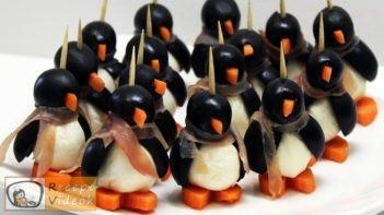 Vendégváró pingvinek mozzarellából - Recept videók