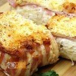 baconbe göngyölt túrós csusza recept elkészítése - Recept Videók