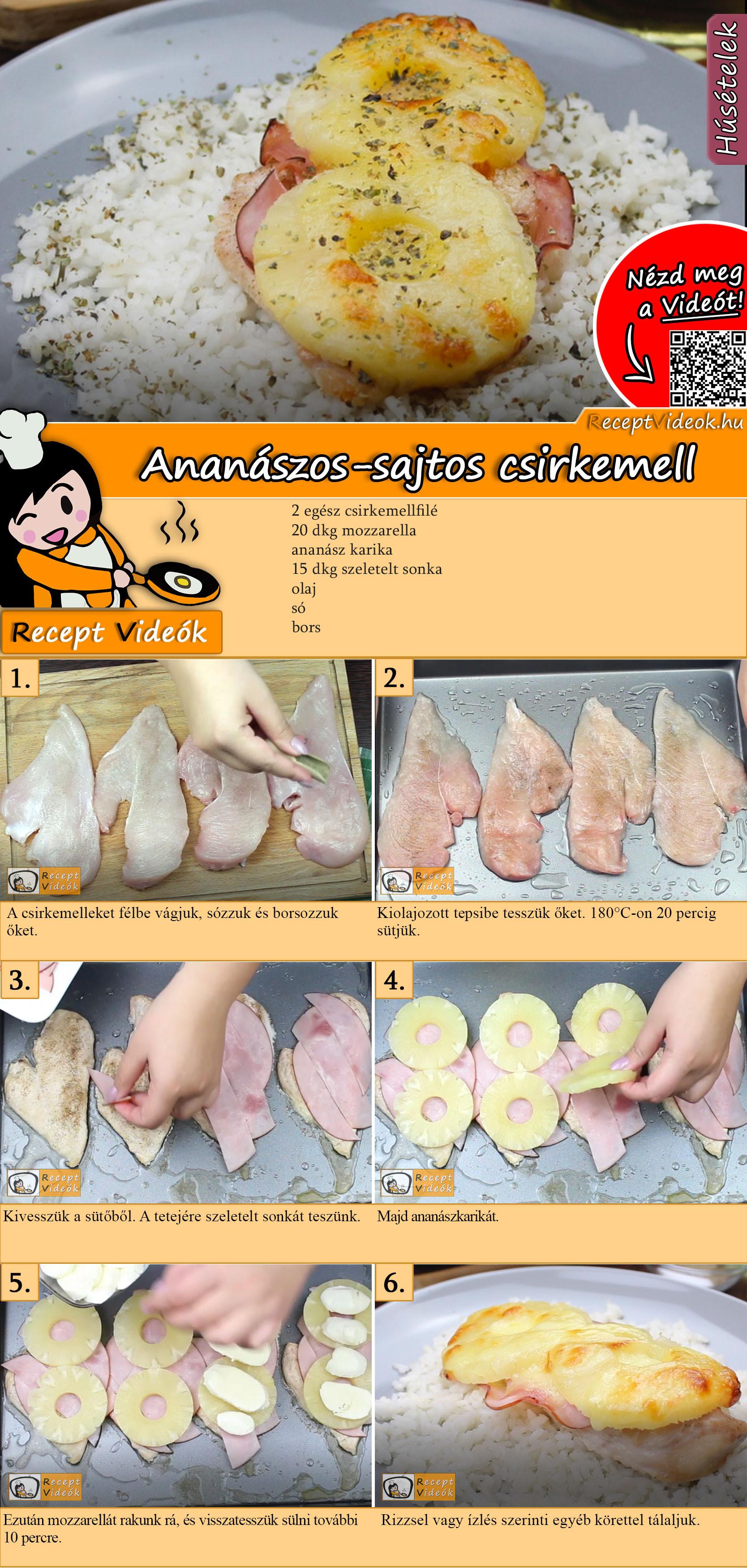 Ananászos-sajtos csirkemell recept elkészítése videóval